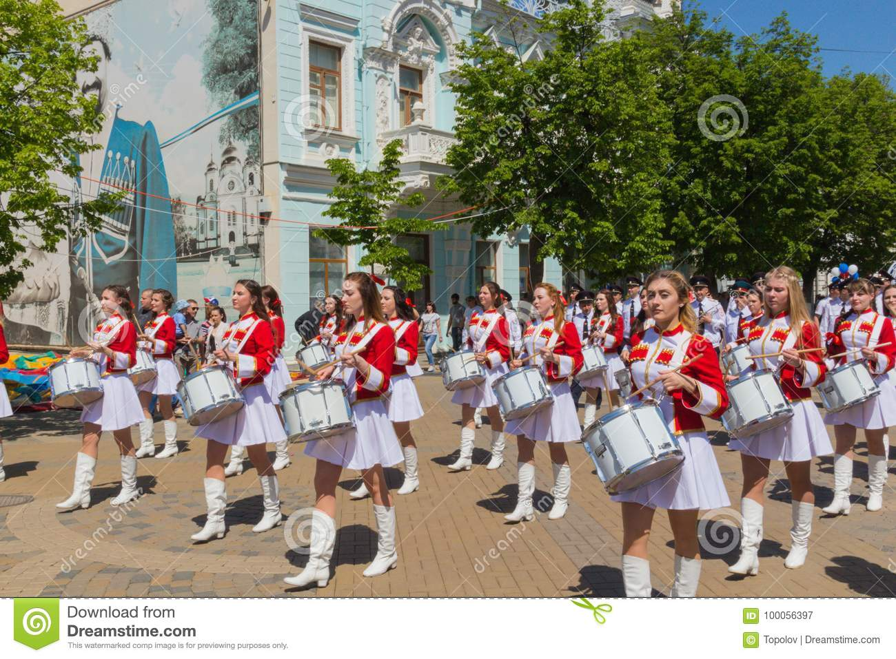 Krasnodar Russia May 1 2017 People Take Part In The May Day Editorial Photography Image Of Drum Labor 100056397