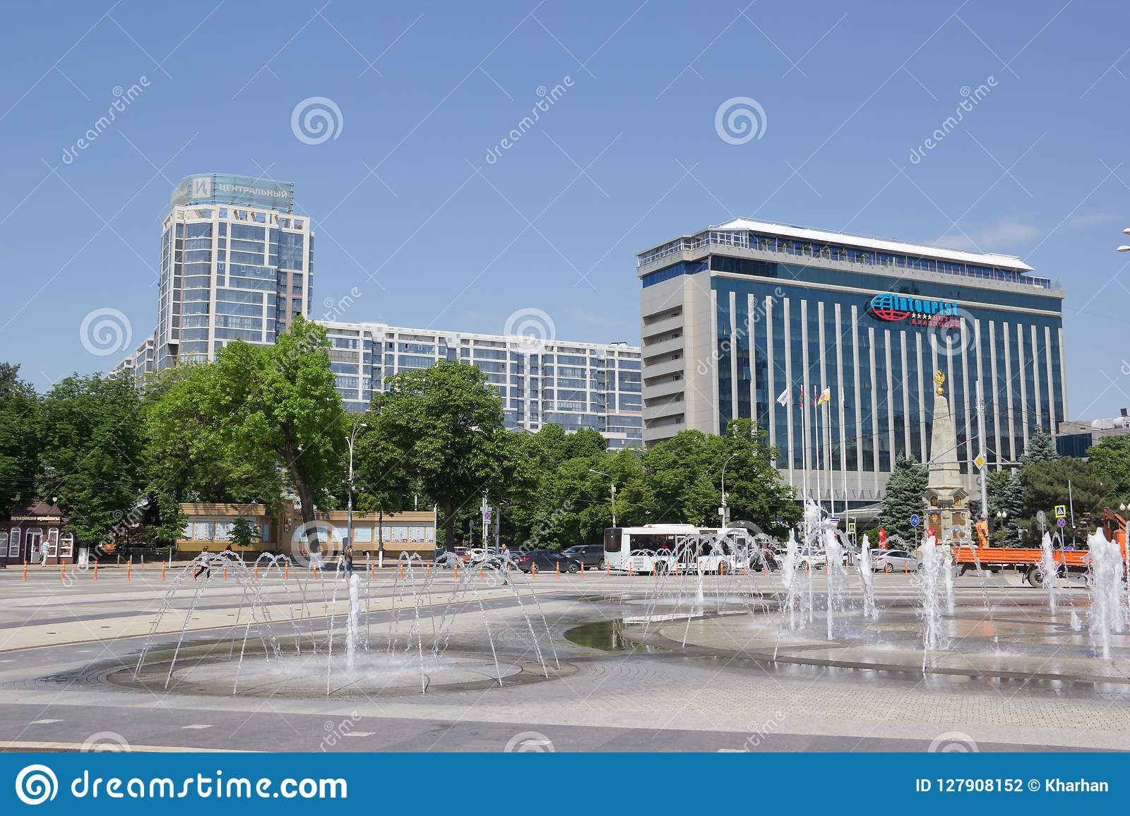 Fountain On The Square In Krasnodar Editorial Photography Image Of Hostel Theatre 127908152