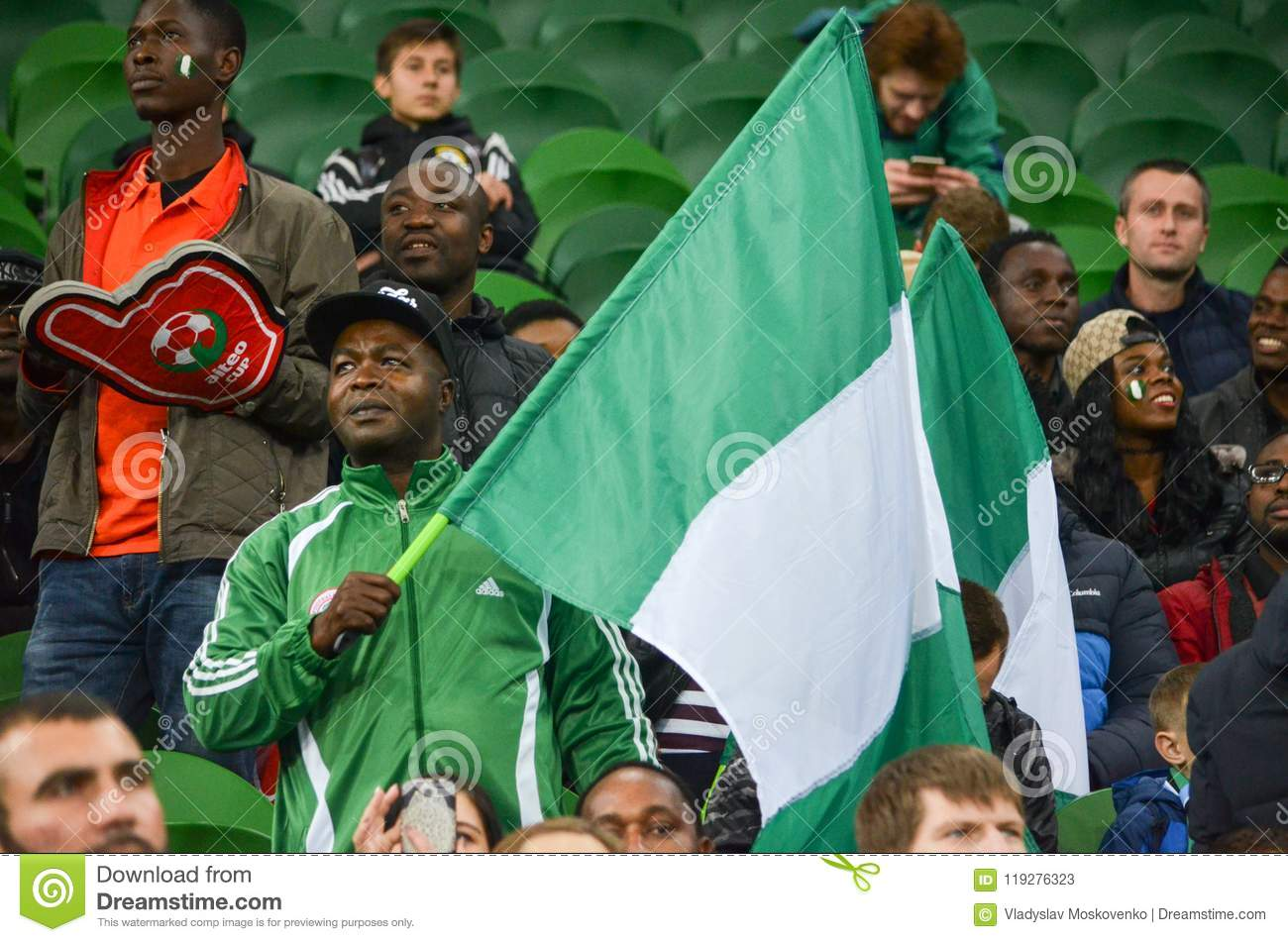 Download KRASNODAR, RUSSIA - November 14, 2017: Nigerian Supporters Suppo Editorial Stock Photo - Image of round, fans: 119276323