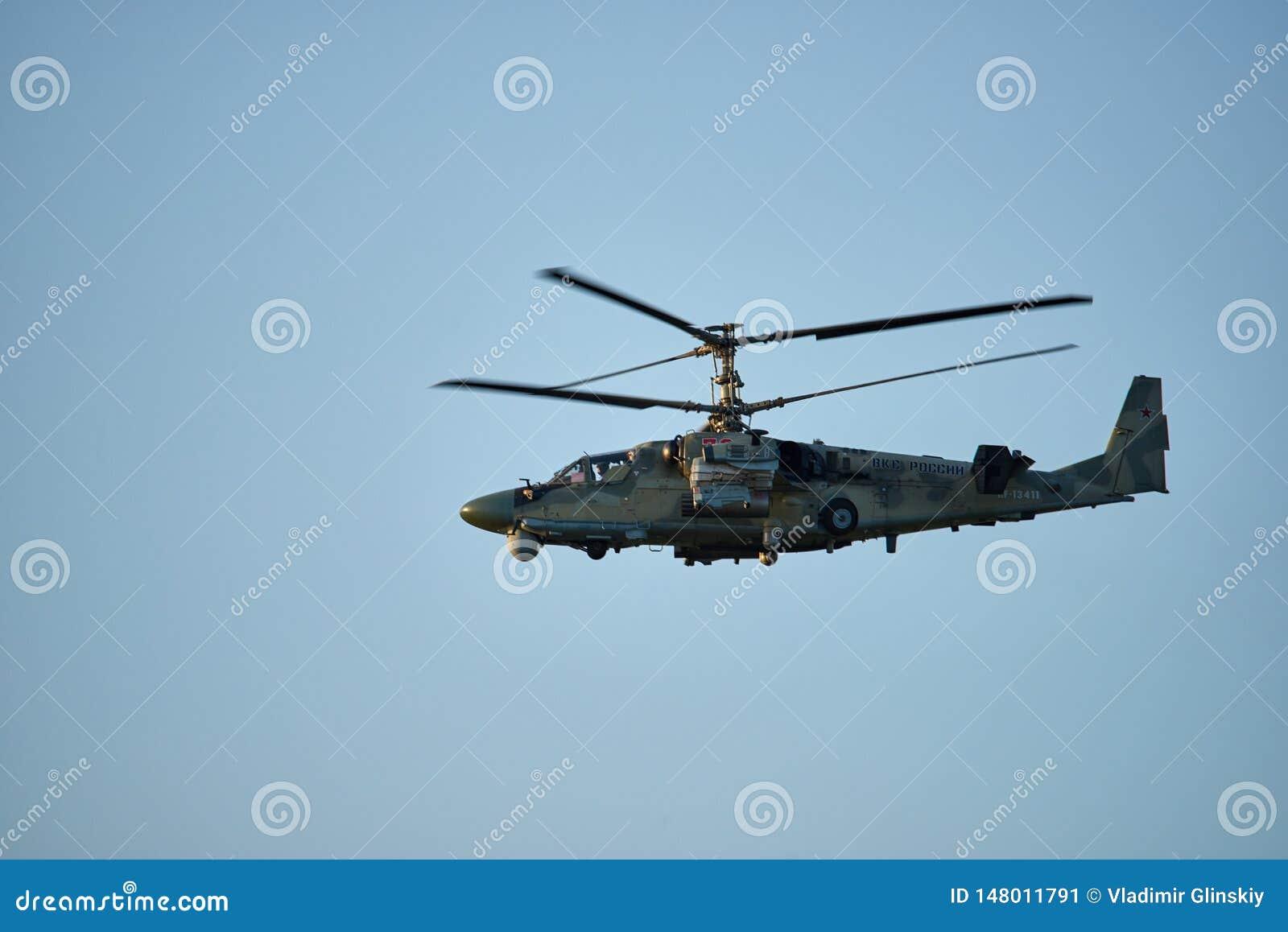 Krasnodar, Russie - mai 2019 : L OTAN d alligator de l hélicoptère KA-52 - vols de formation de conduite des fadaises B