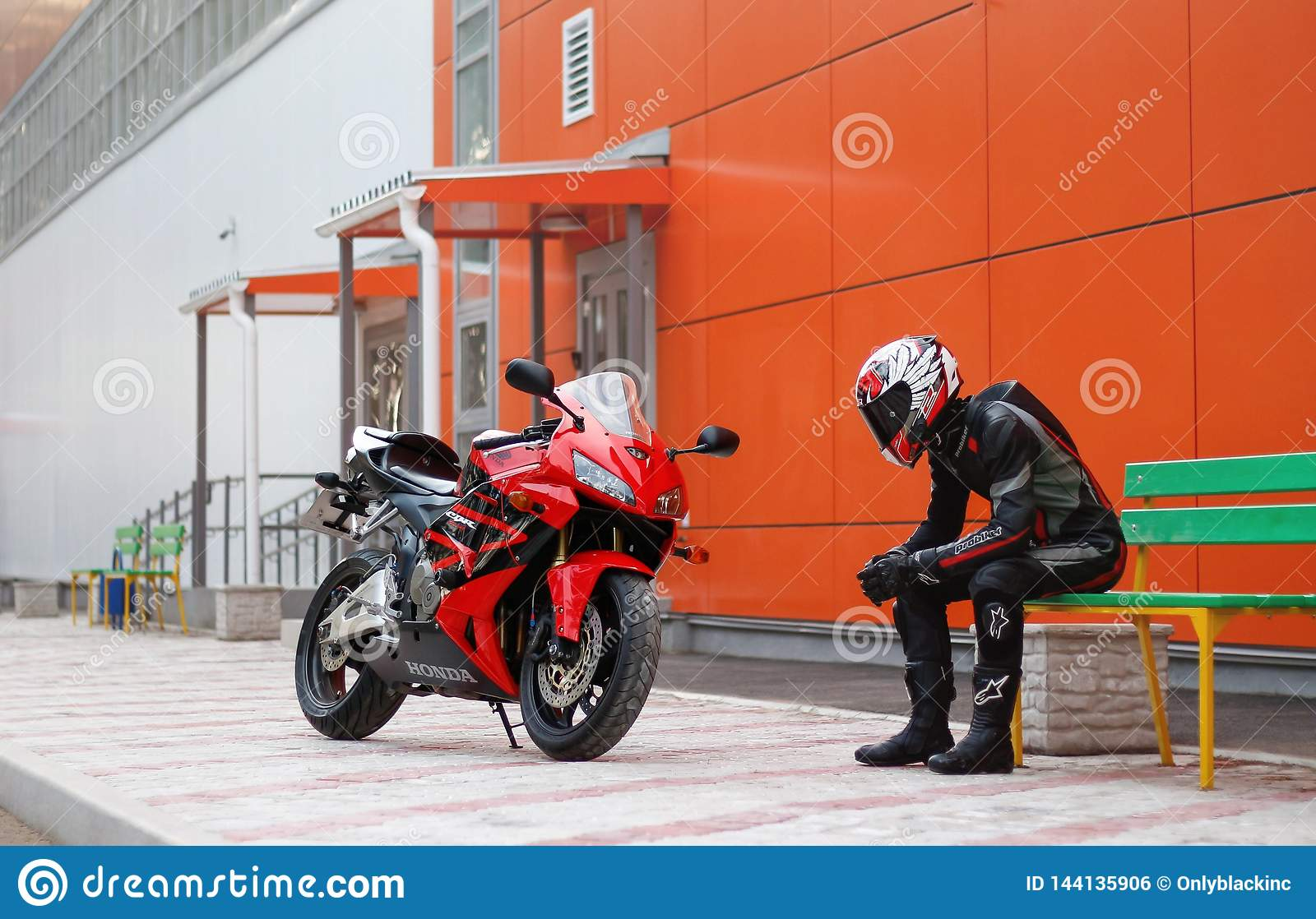 KRASNOYARSK, RUSSIA - April 3, 2019: Beautiful Motorcyclist