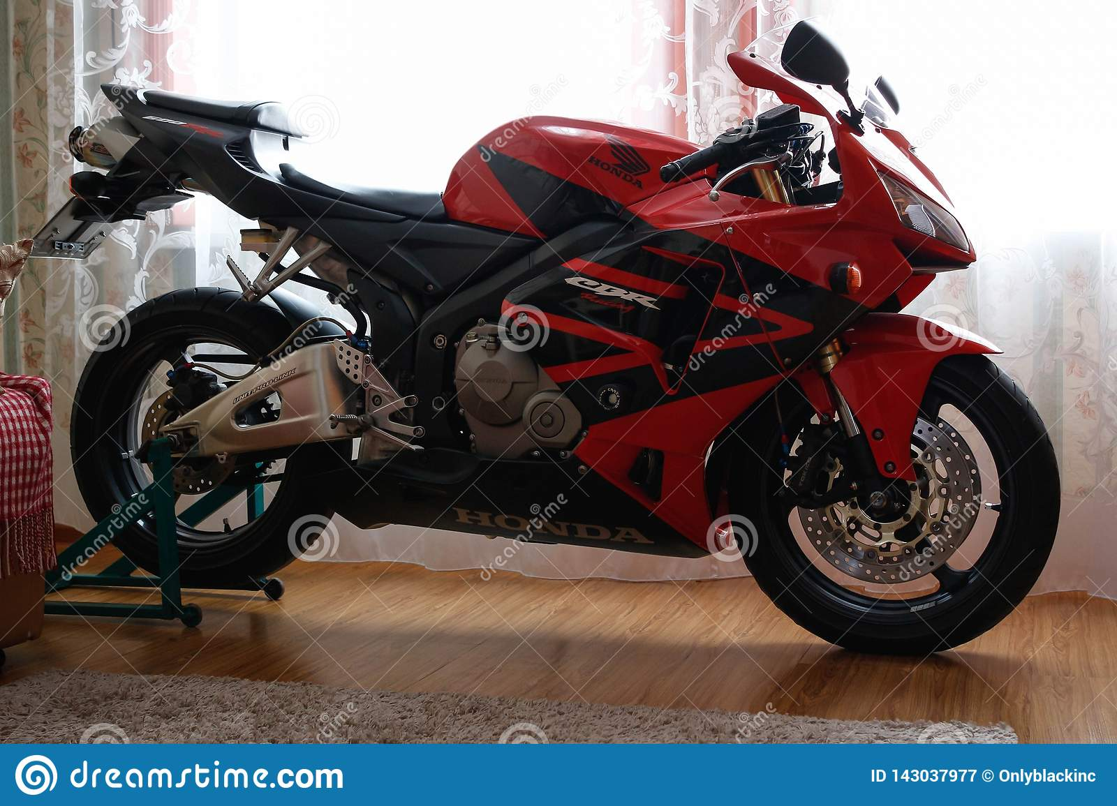 KRASNOYARSK, RUSSIA - March 6, 2019: Red And Black Sportbike