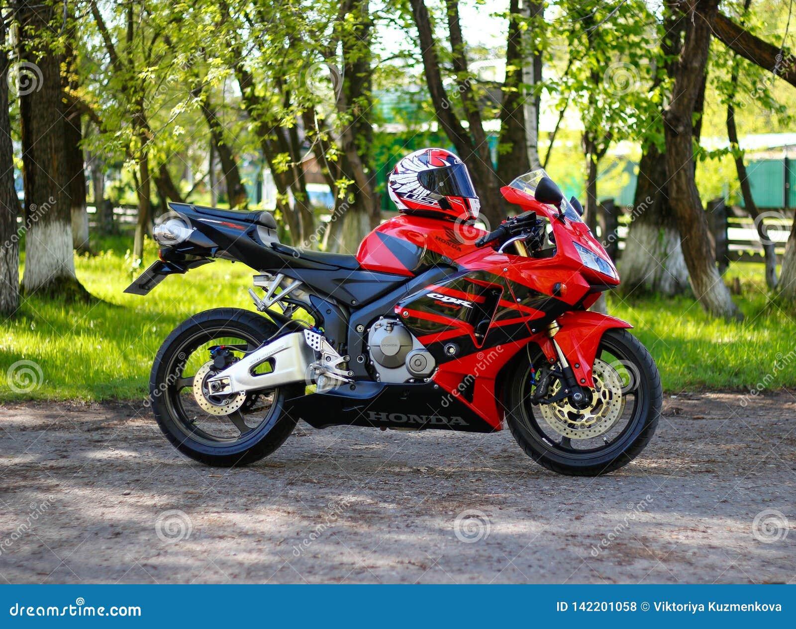 Krasnoyarsk Russia May 25 2018 Red And Black Sportbike Honda