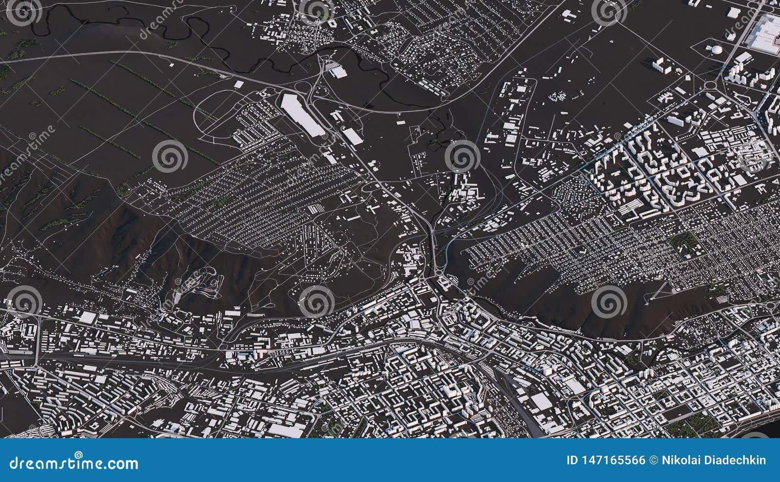Krasnoyarsk ?versikt i isometriska v?gar och byggnader f?r landskap 3d