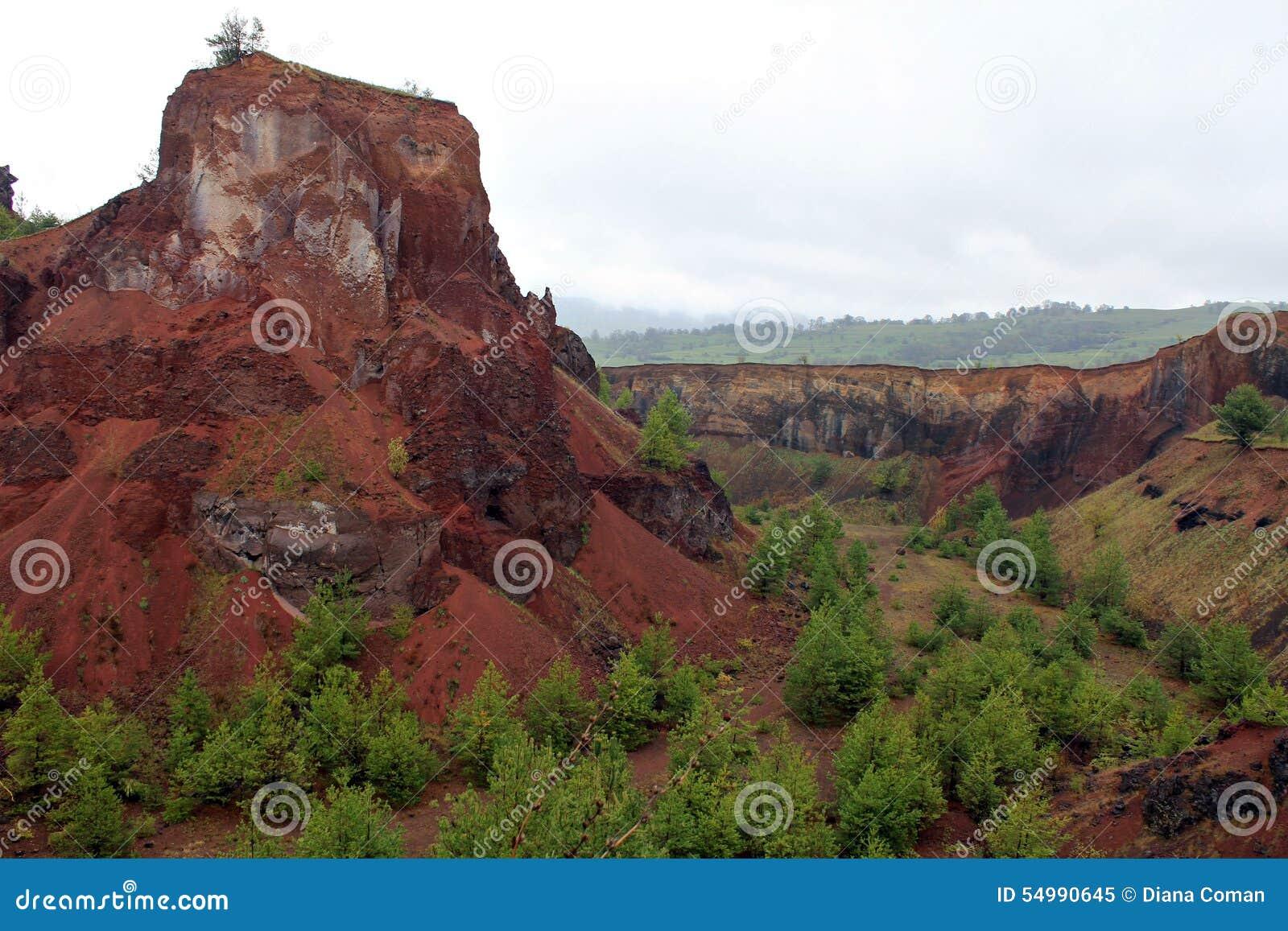 Krater för Racos extictvulkan