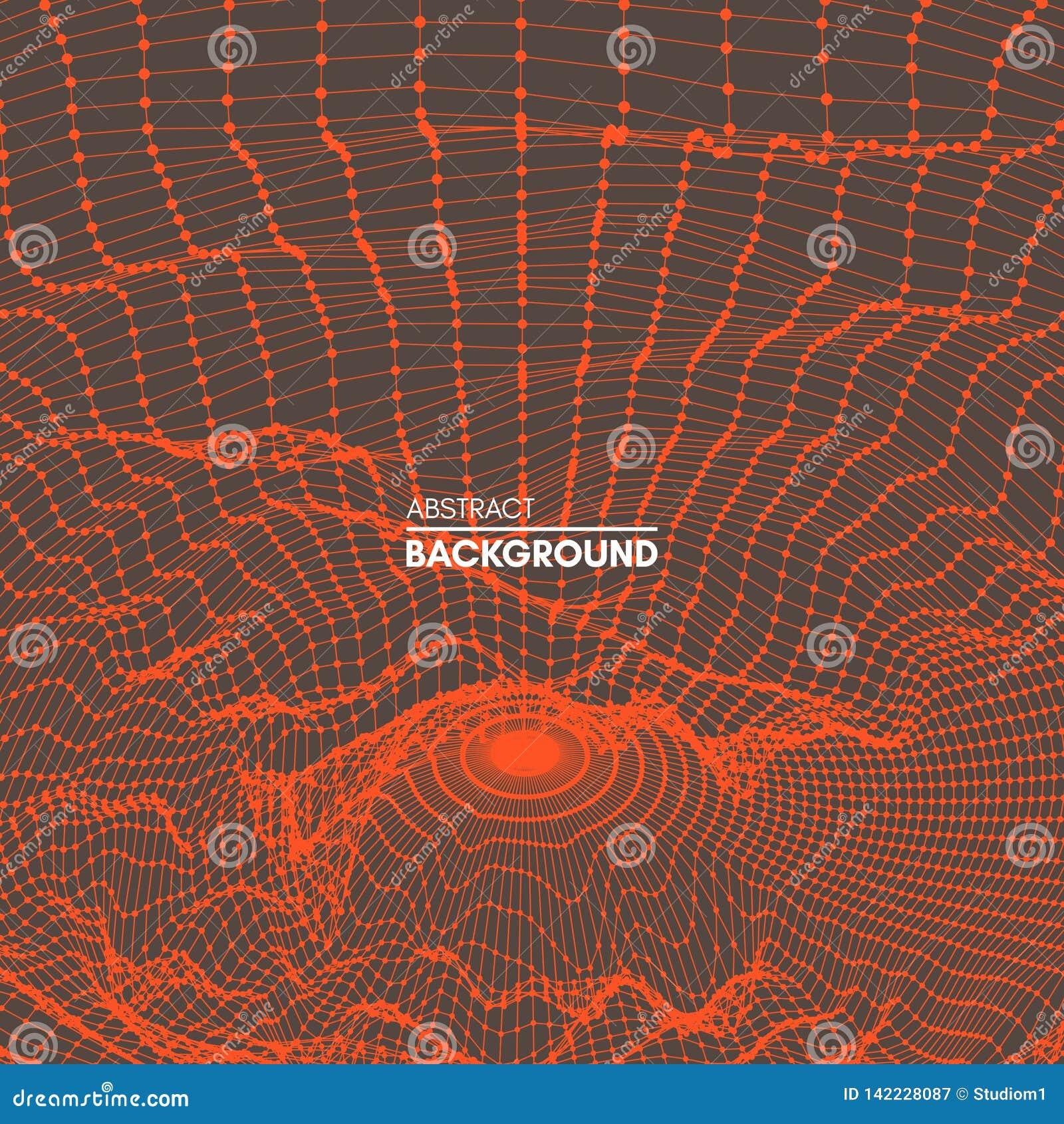 Kratownicy struktura Nauki lub technologii tło 3D siatki powierzchnia abstrakcjonistyczna wektorowa ilustracja