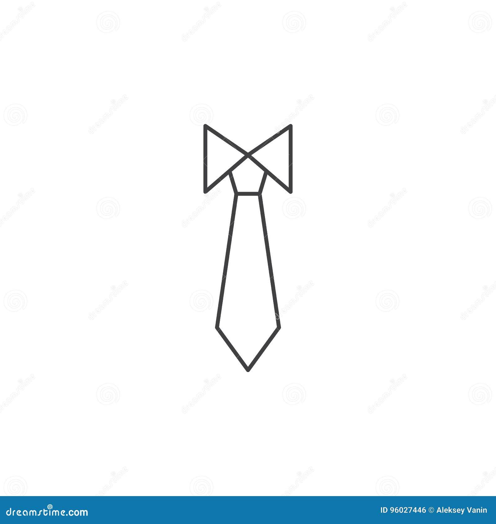 Krawat cienka kreskowa ikona, kodu ubioru konturu loga wektorowa ilustracja,