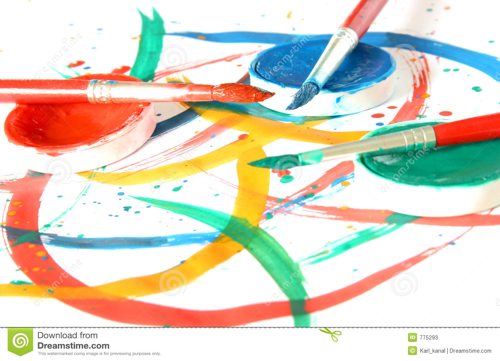 Kreativ - Pinsel u. Farbe stock abbildung. Illustration von ...