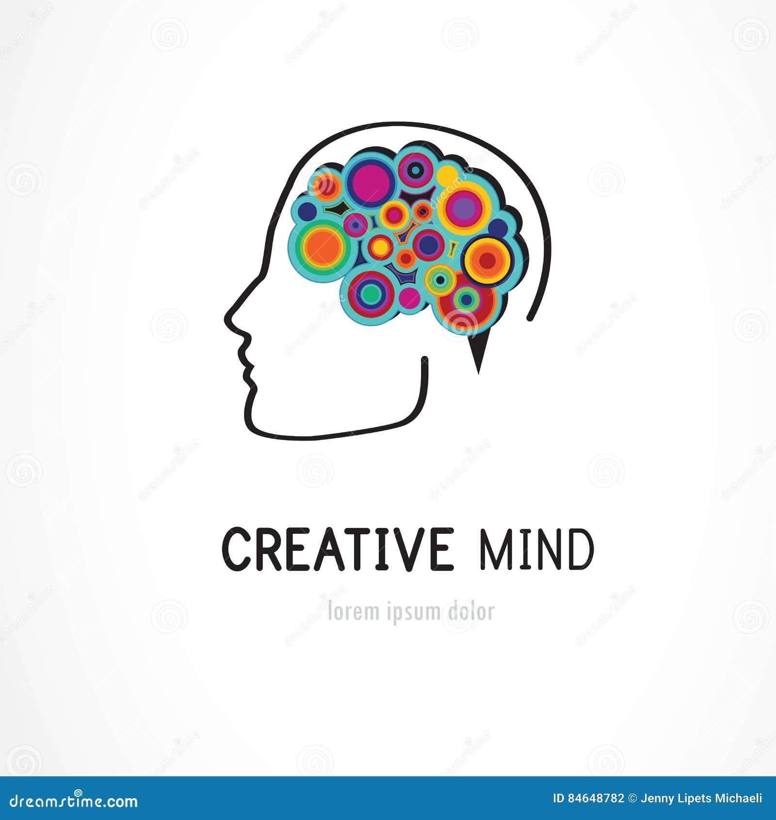 Kreative, Digitale Abstrakte Bunte Ikone Des Menschlichen Gehirns ...