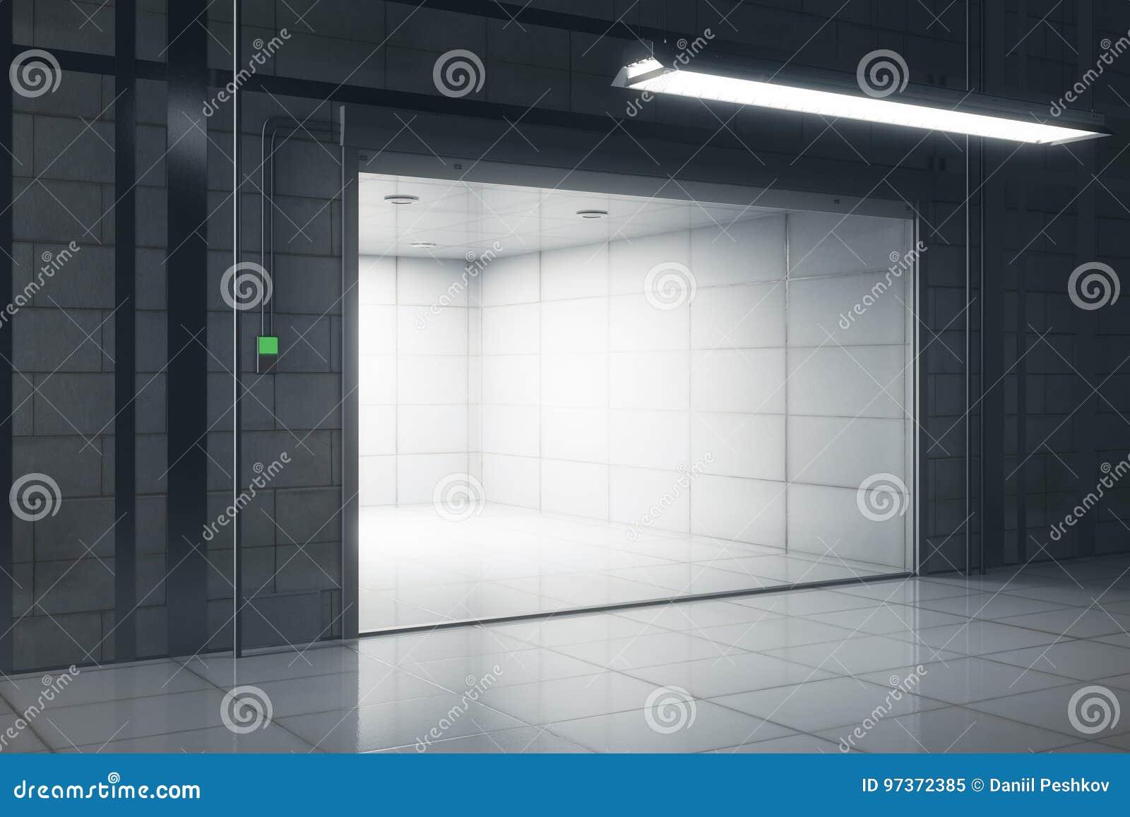 Fußboden Garage ~ Kreative garage mit geöffneter türseite stock abbildung