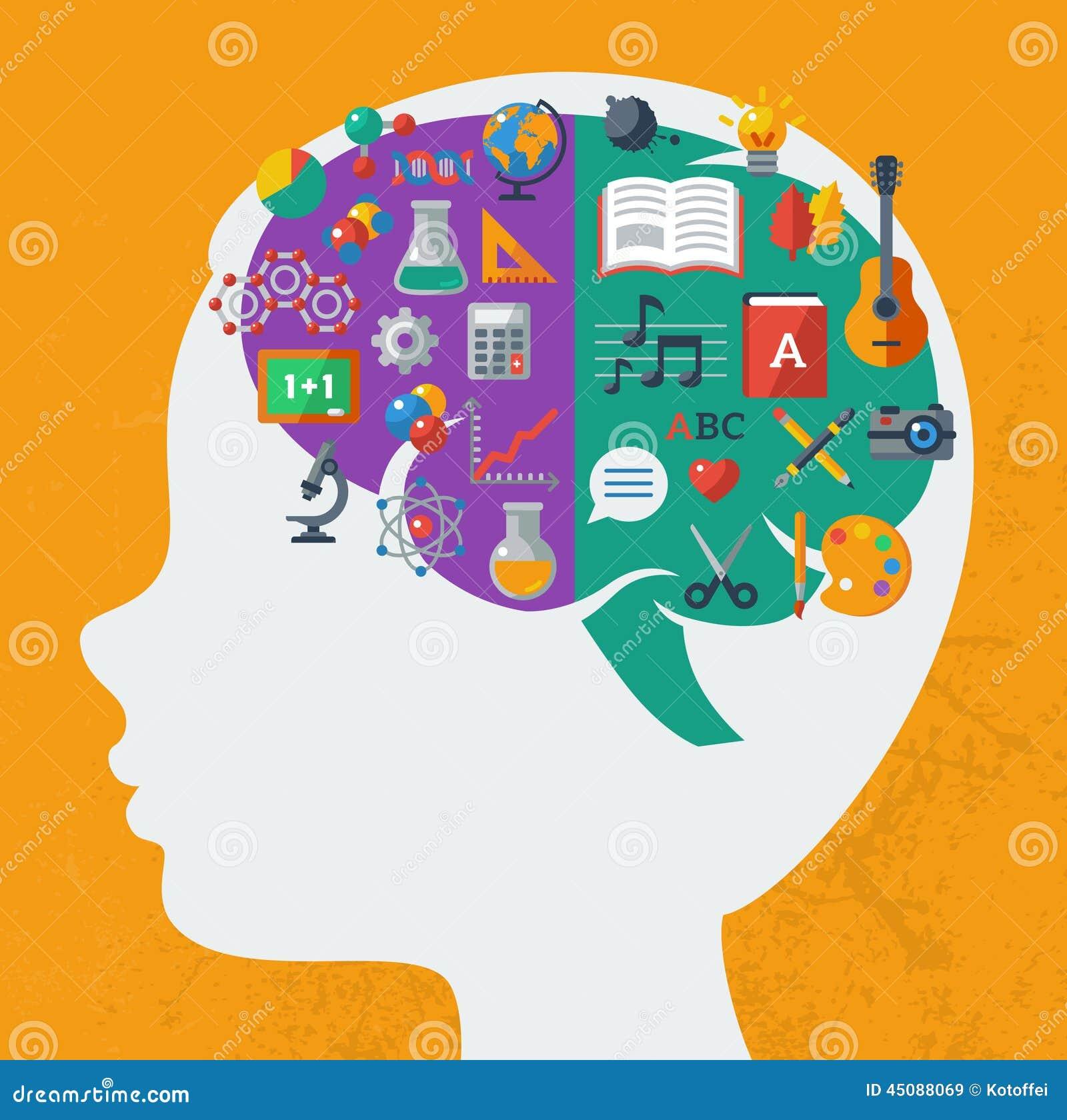 Kreative Gehirn Idee vektor abbildung. Illustration von ...