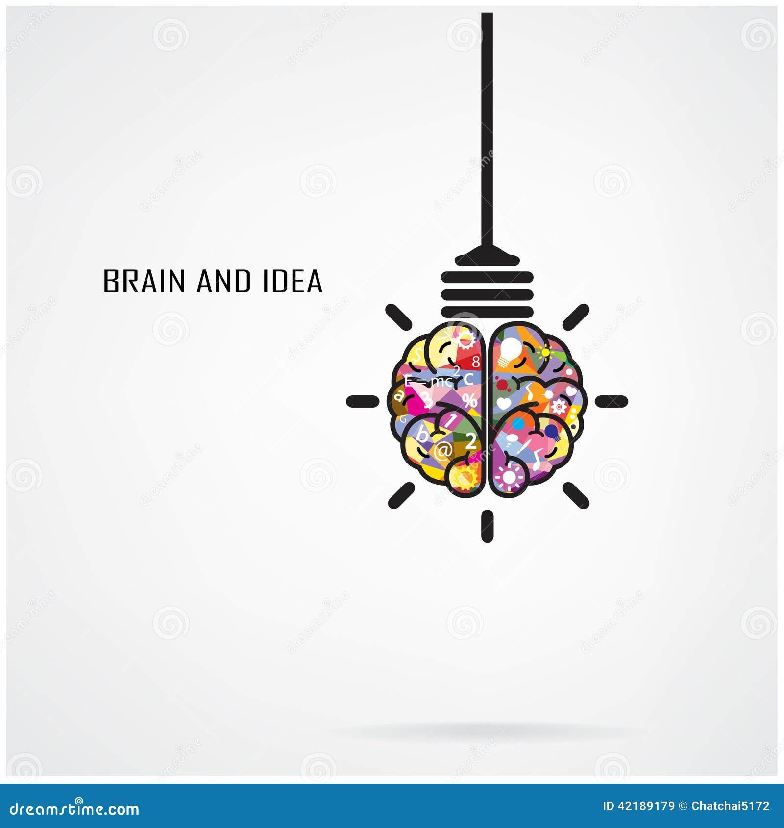 Kreative Gehirn Idee Und Glühlampekonzept Vektor Abbildung ...