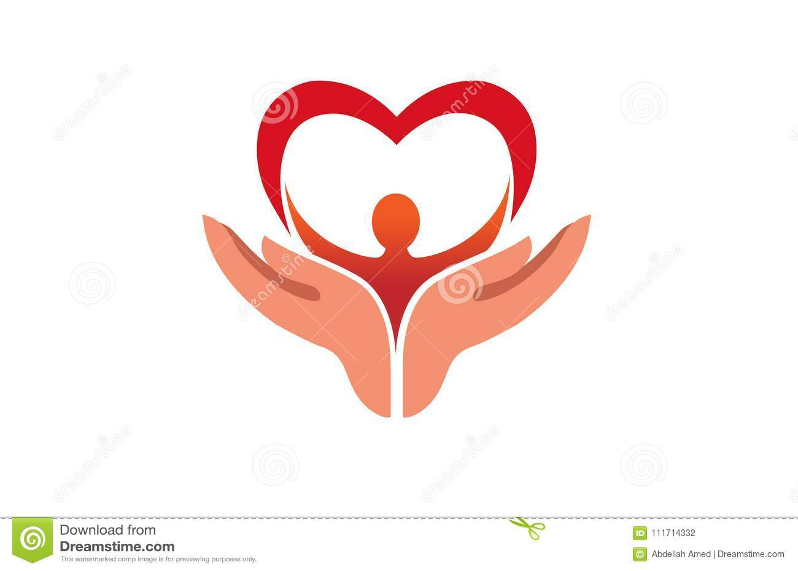 Kreative Hände, Die Menschlichen Körper Mit Herz-Symbol-Logo Halten ...
