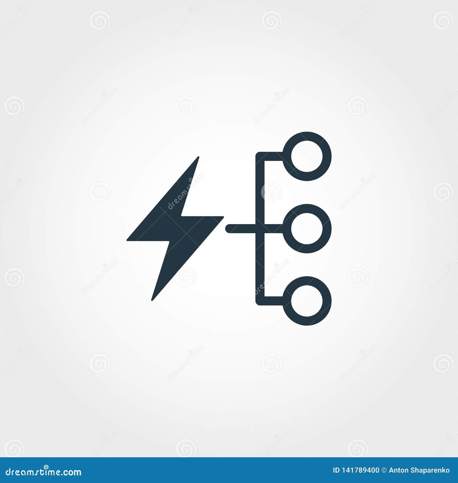 Kreative Ikone des Energieverbrauchs Einfarbiger Artentwurf von der Urbanismikonensammlung Energieverbrauchikone für