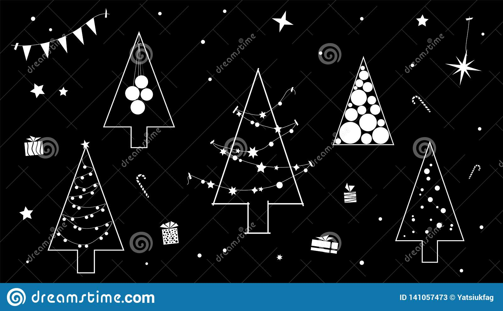 Kreative Schwarzweiss-Kontur des Weihnachtsbaums in einer modernen Konturndurchführung