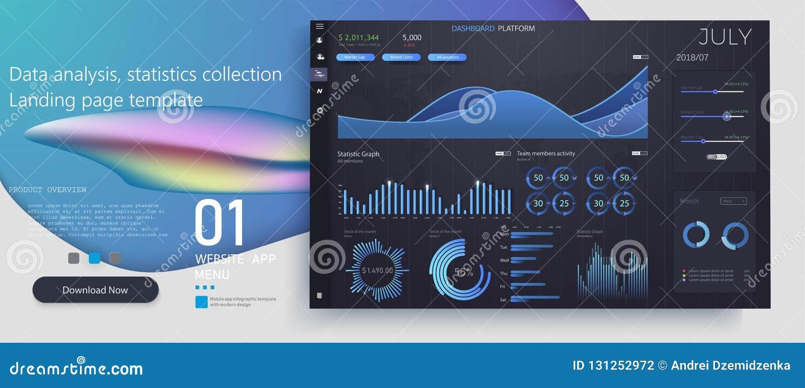 Kreative Vektorillustration der infographic Schablone des Netzarmaturenbrettes Kunstentwurfsjahrbuch