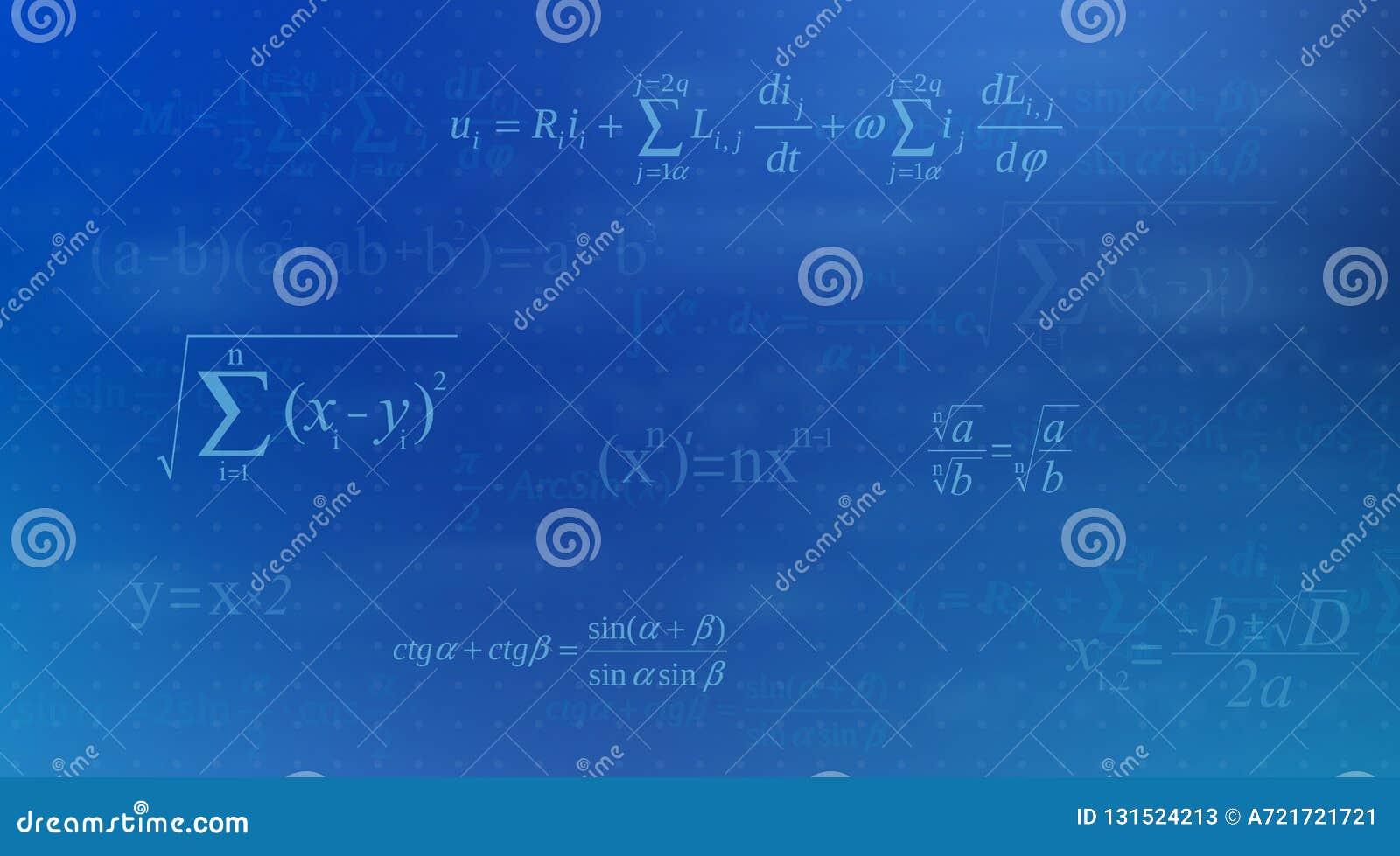 Kreative Vektorillustration der Mathegleichung, mathematisch, Arithmetik, Physikformelhintergrund Kunstentwurfsschirm
