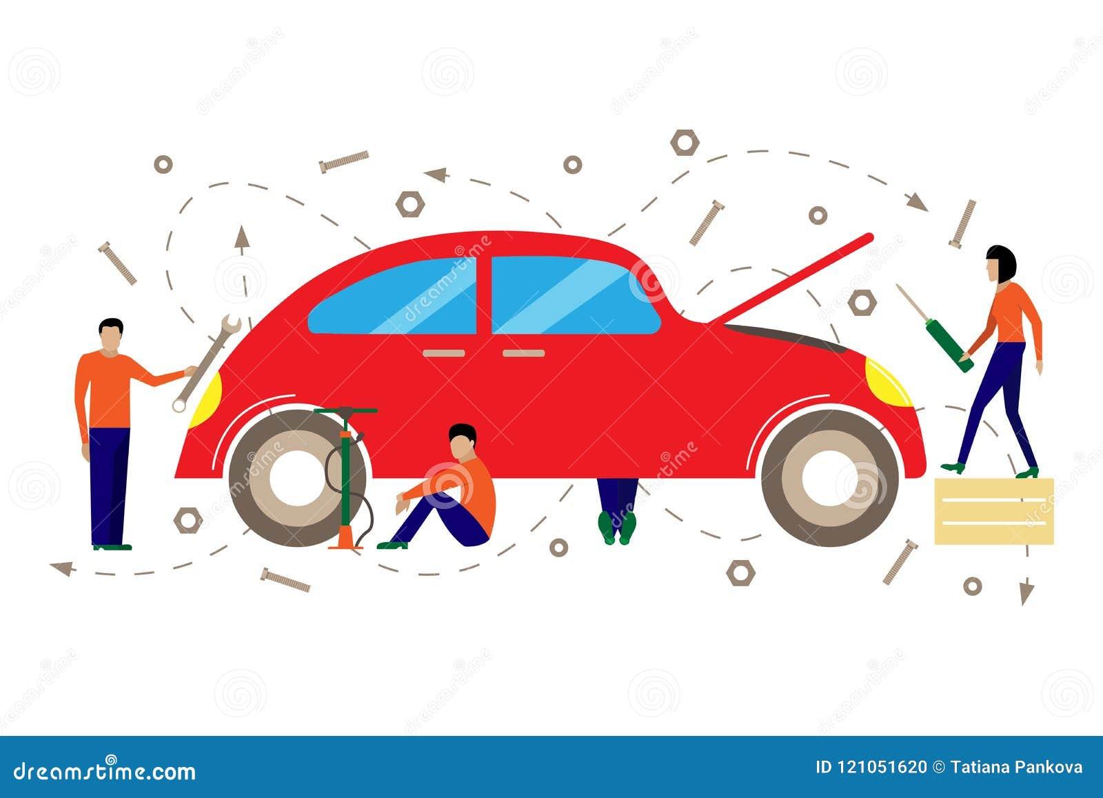 Kreative Vektorillustration des Services für Reparatur von Autos