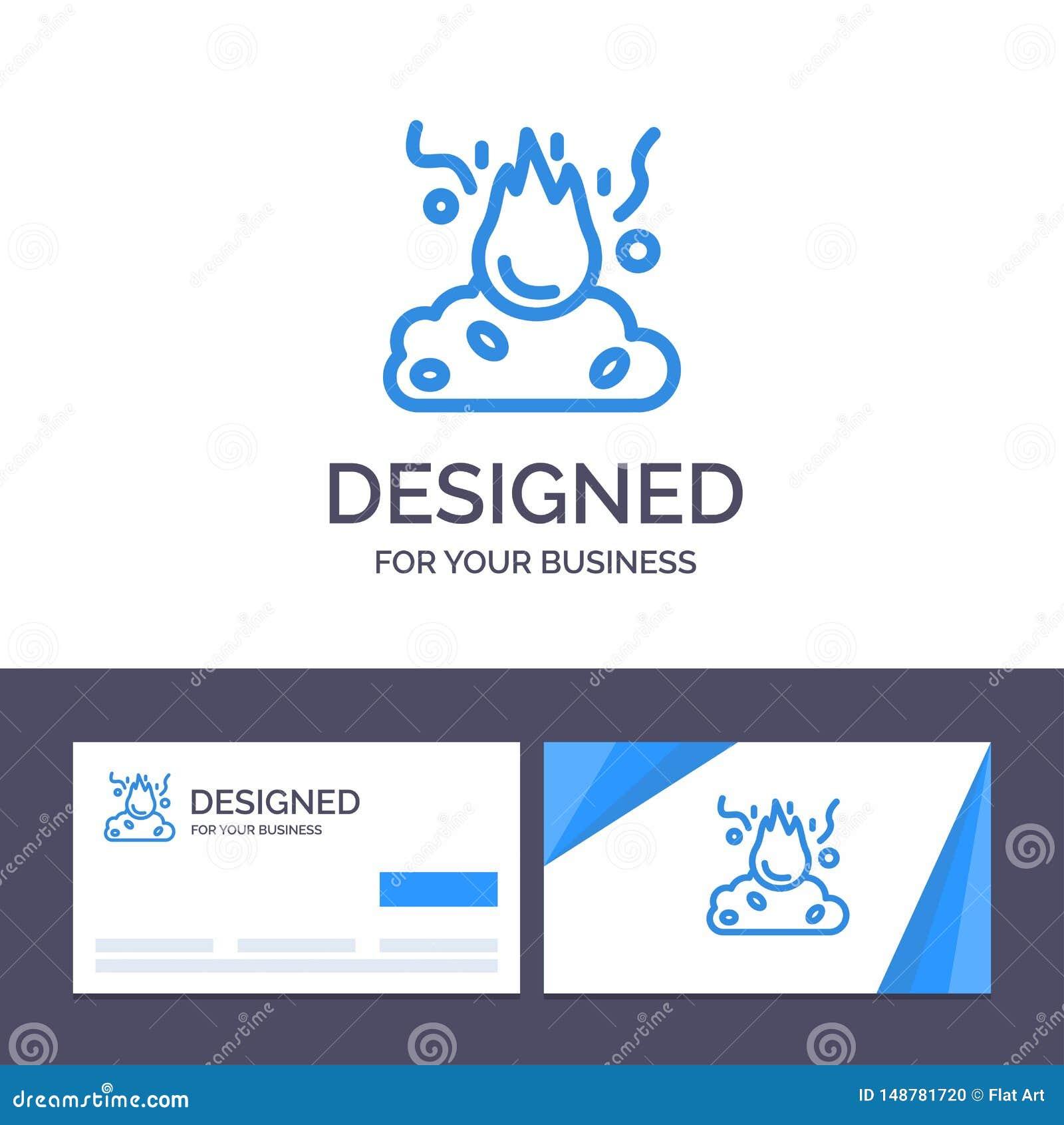 Kreative Visitenkarte- und Logoschablone Brand, Feuer, Abfall, Verschmutzung, Rauch-Vektor-Illustration