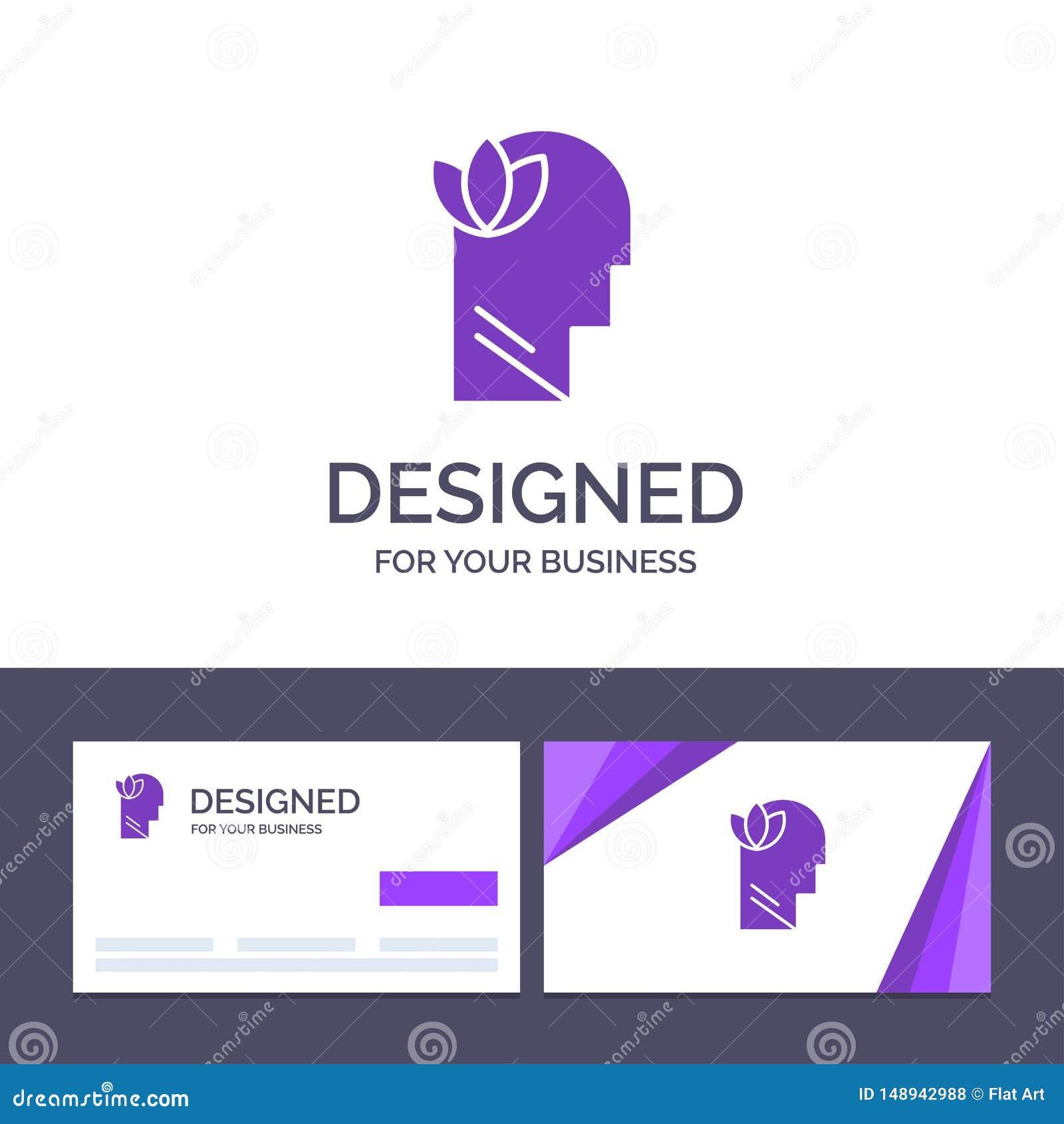 Kreative Visitenkarte- und Logoschablone geistlich, Entspannung, Verstand, Hauptvektor-Illustration