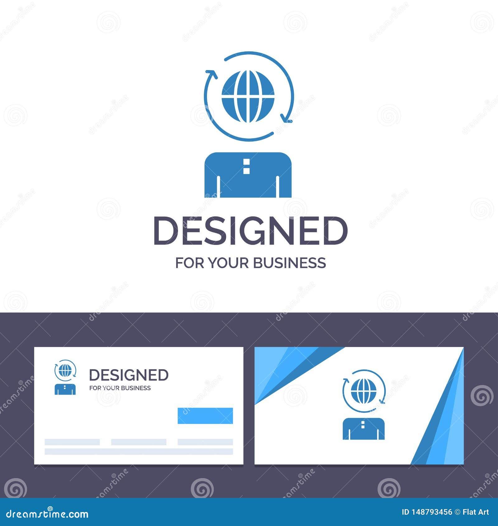 Kreative Visitenkarte- und Logoschablone Geschäft, global, Management, moderne Vektor-Illustration