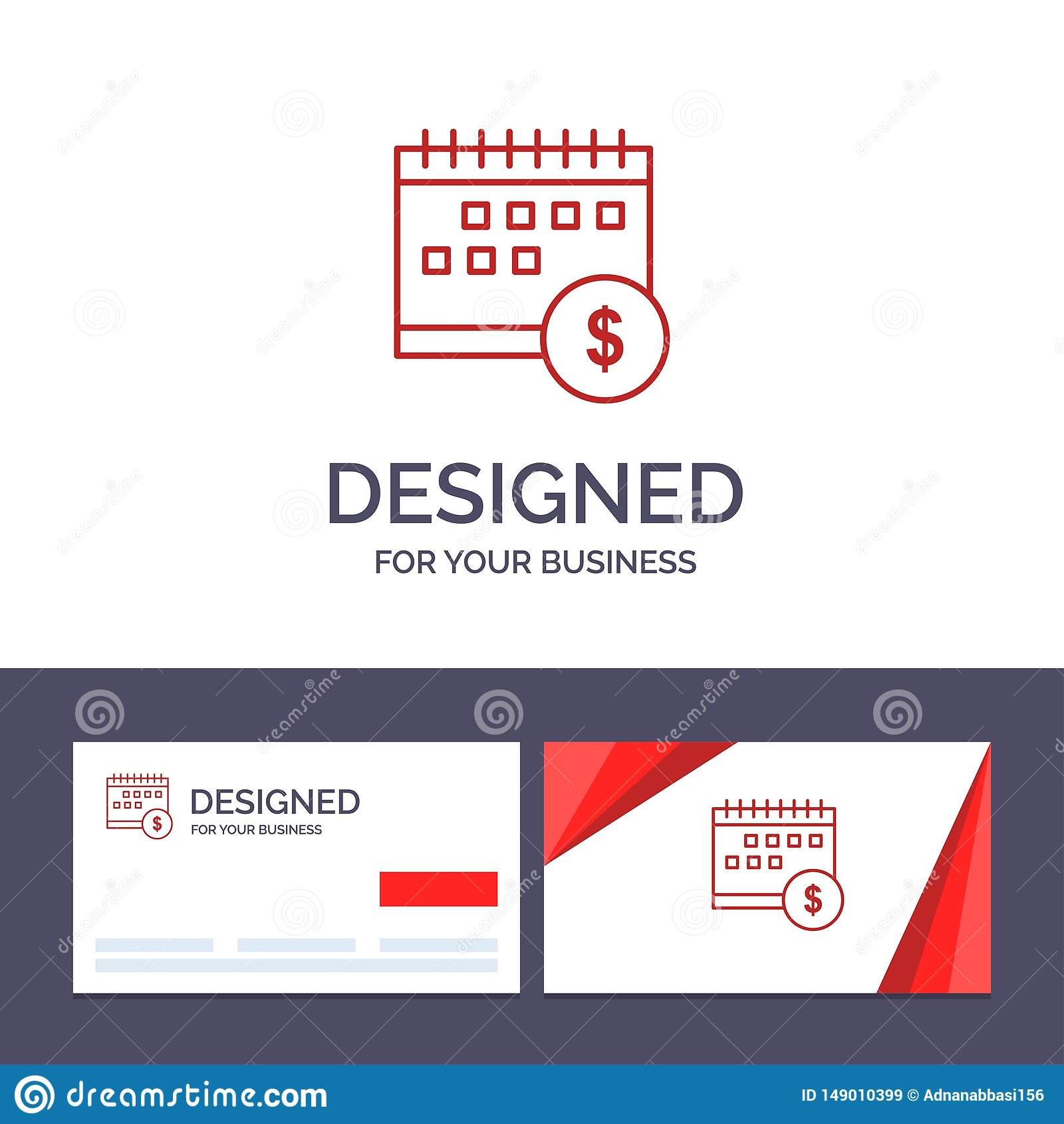 Kreative Visitenkarte- und Logoschablone Kalender, Bankwesen, Dollar, Geld, Zeit, wirtschaftliche Vektor-Illustration