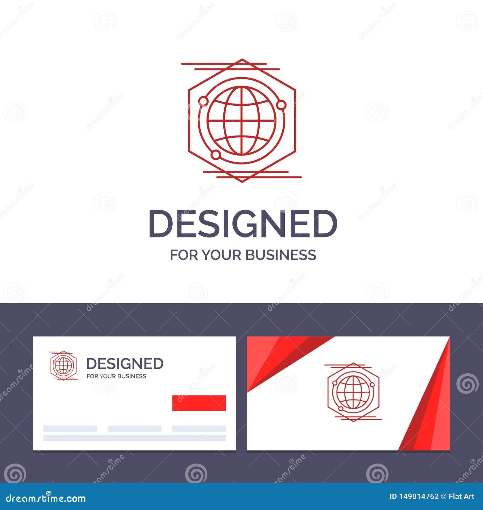 Kreative Visitenkarte- und Logoschablone Kugel, Polygon, Raum, Ideen-Vektor-Illustration