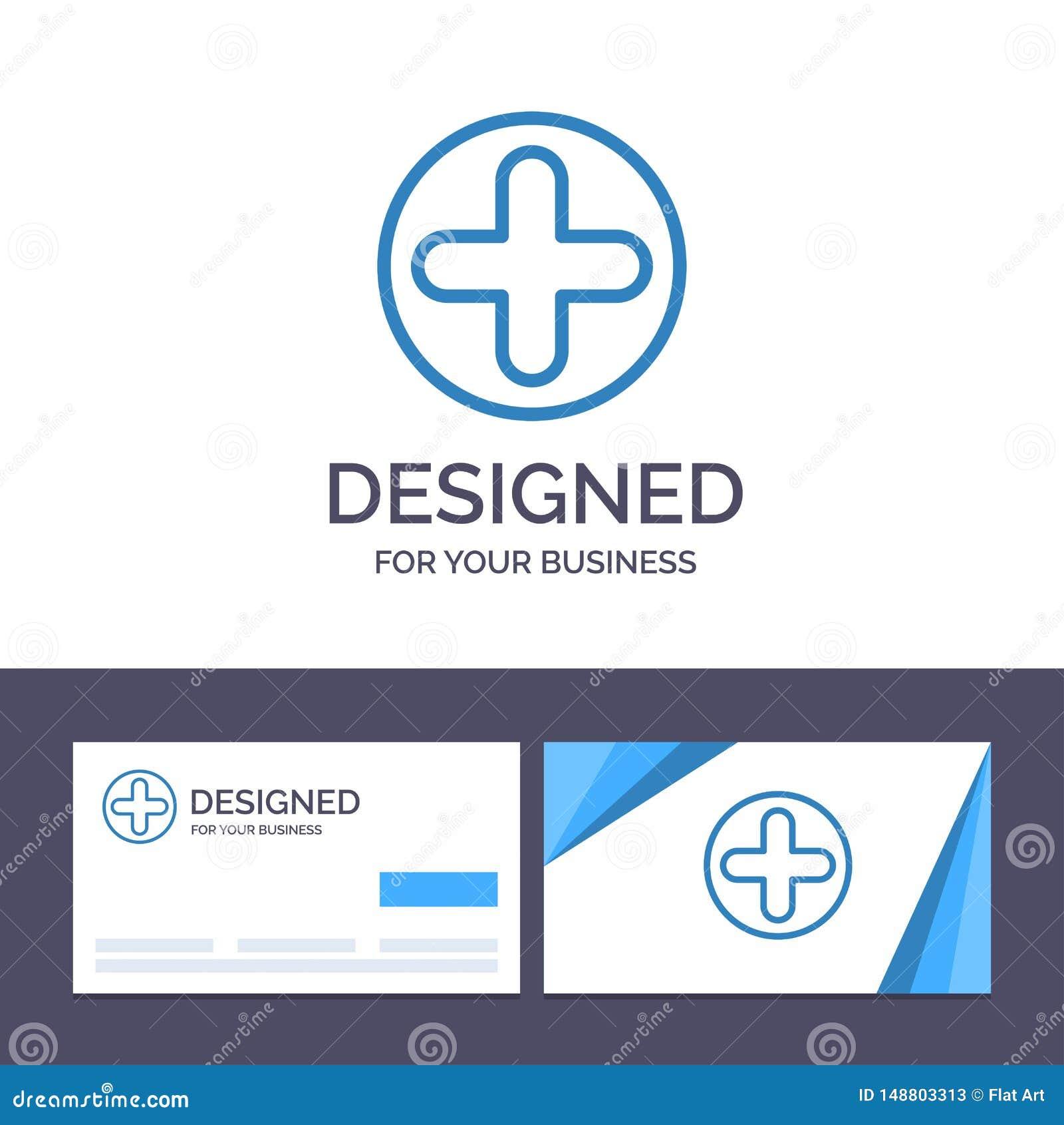 Kreative Visitenkarte- und Logoschablone Plus, Zeichen, Krankenhaus, medizinische Vektor-Illustration