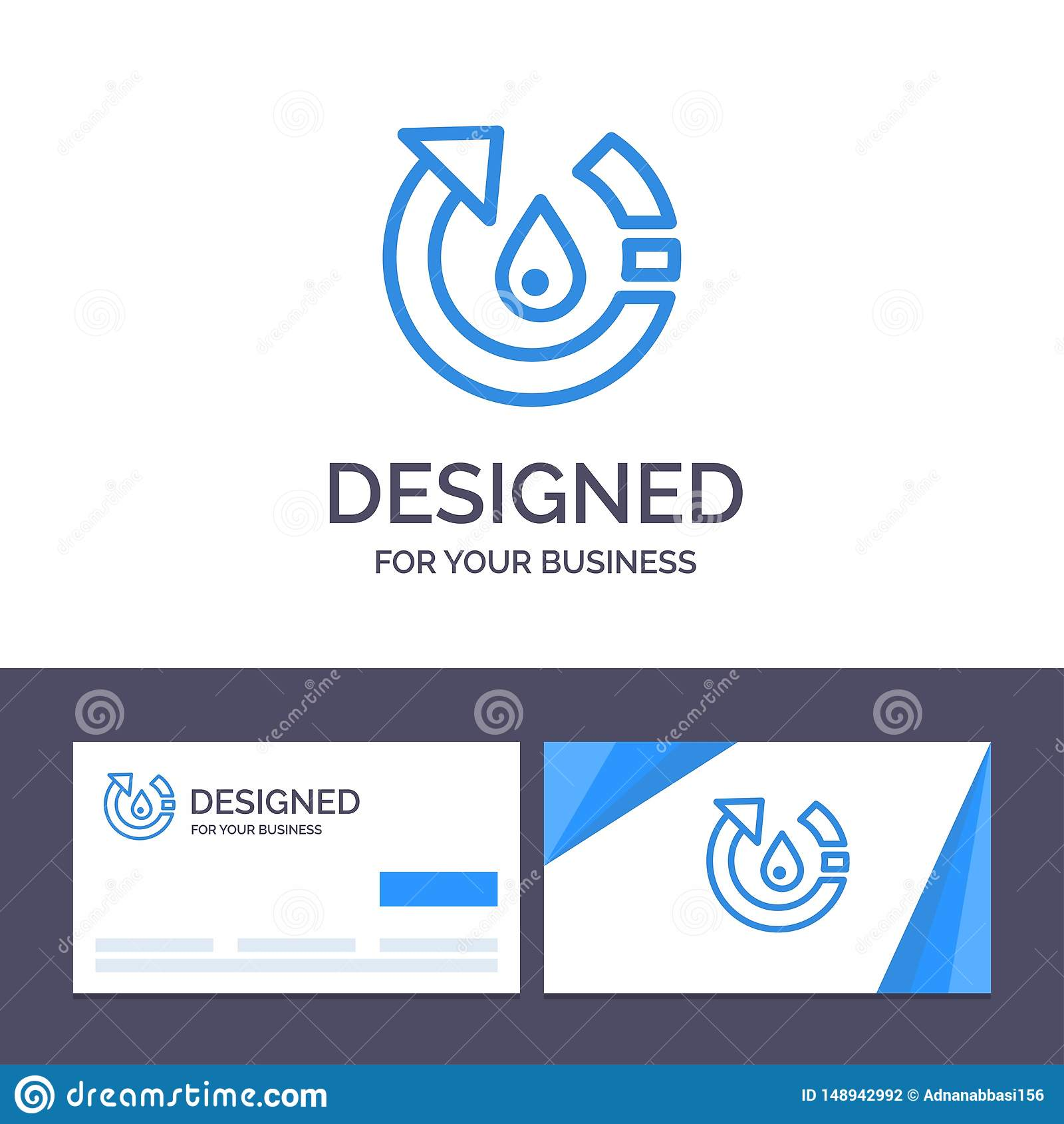 Kreative Visitenkarte- und Logoschablone Tropfen, Ökologie, Umwelt, Natur, bereiten Vektor-Illustration auf
