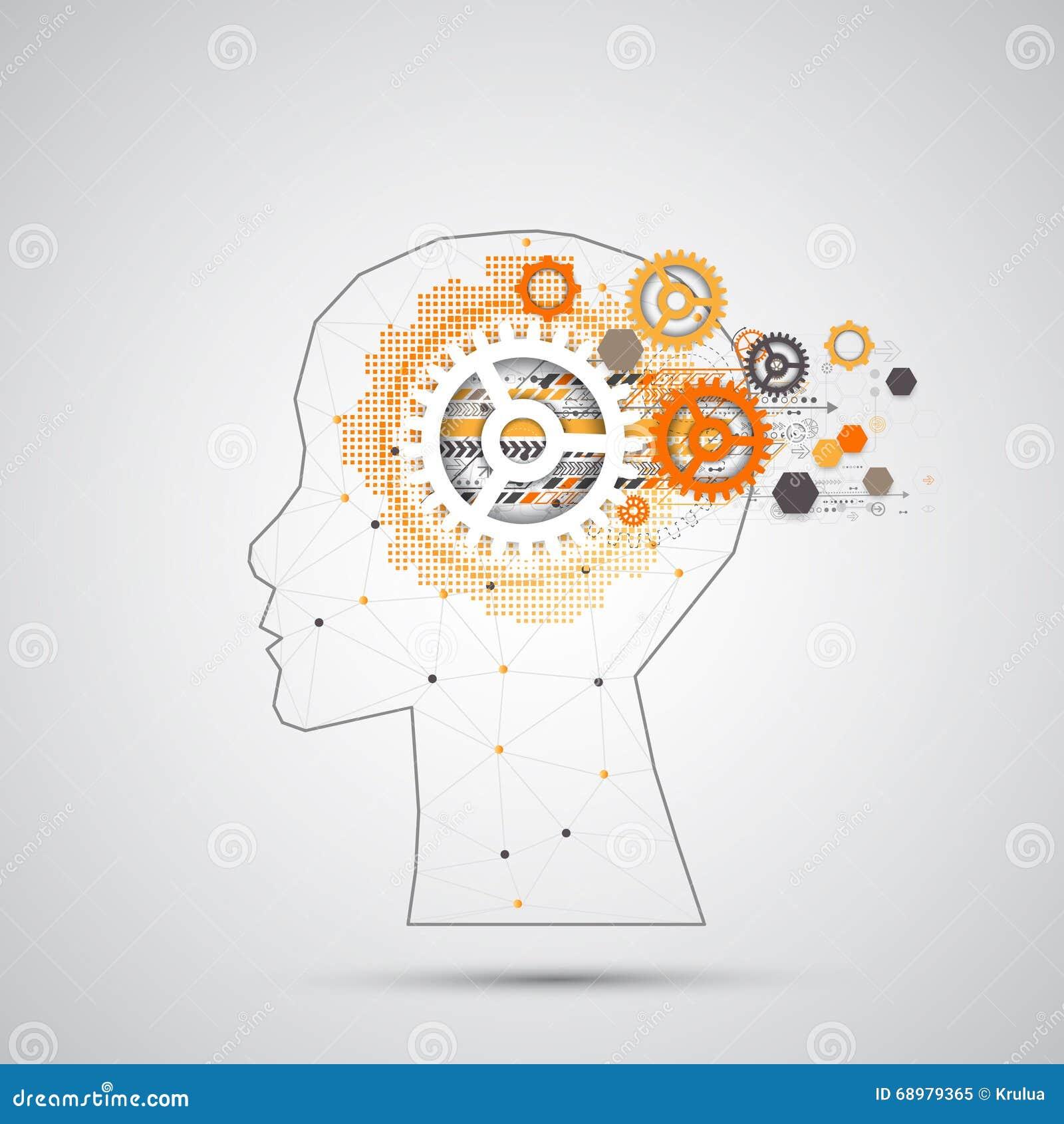 Kreativer Gehirnkonzepthintergrund mit dreieckigem Gitter Artifici