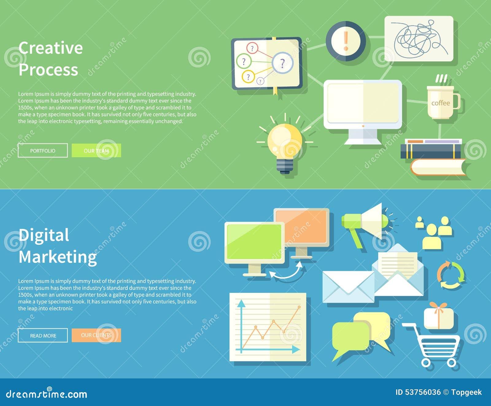 Kreativer Prozess Und Digital-Marketing-Konzept Vektor Abbildung ...