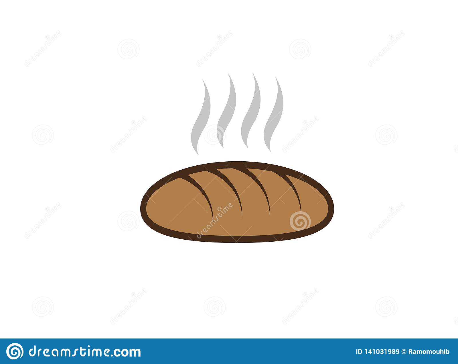 Kreatives heißes Brot für Logoentwurfsillustration, Bäckereigeschäftssymbol