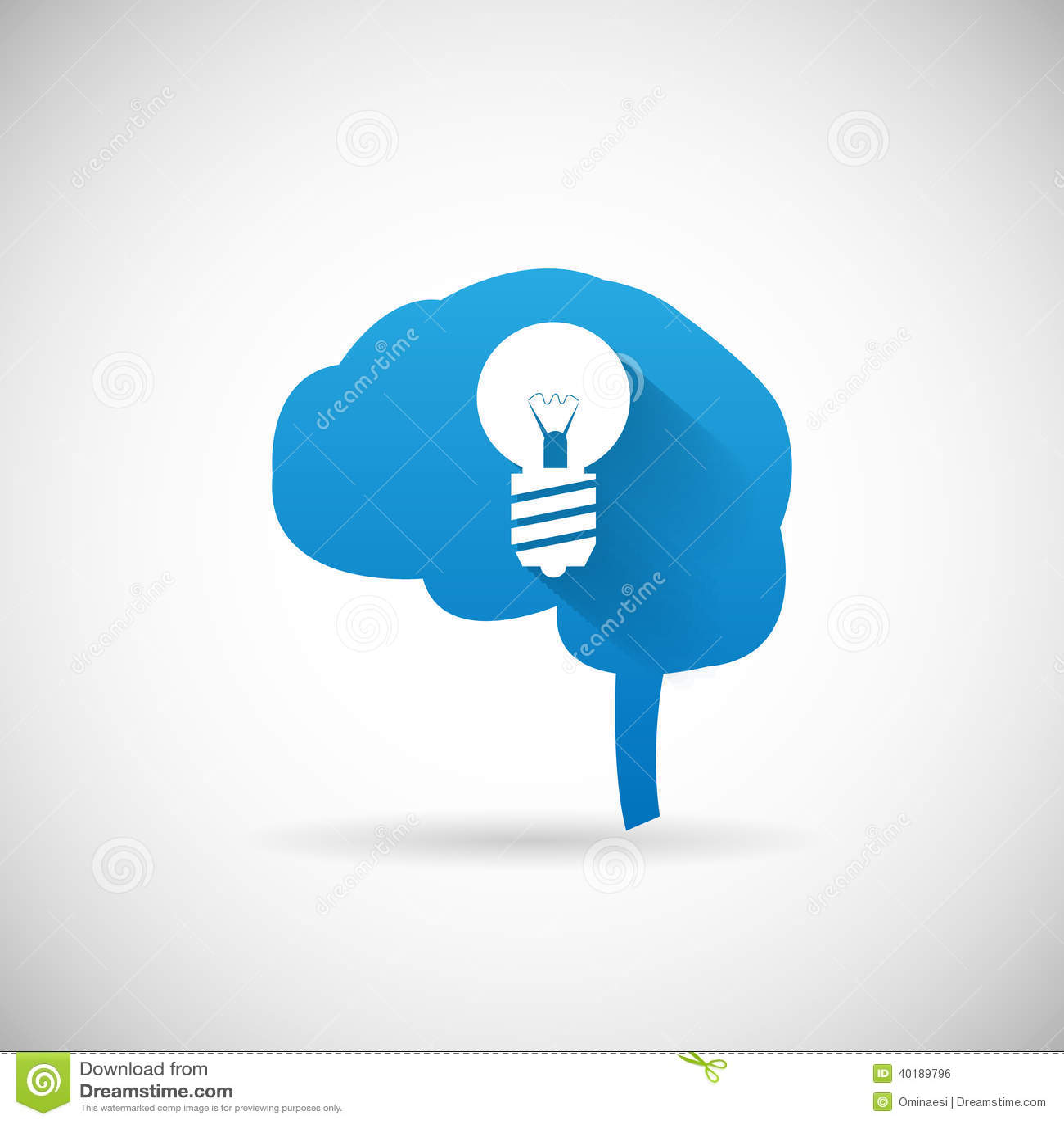 Kreatives Ideen-Symbol-Gehirn Und Glühlampe Schattenbild-Ikone ...