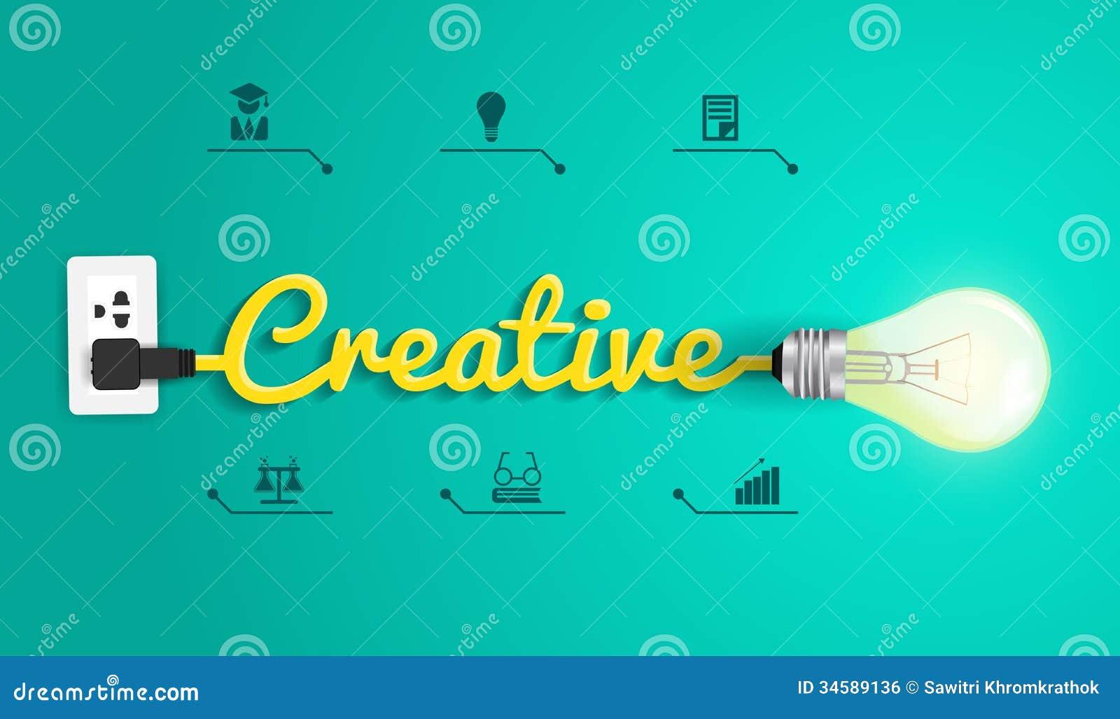 Kreatives Konzept des Vektors mit Glühlampeidee
