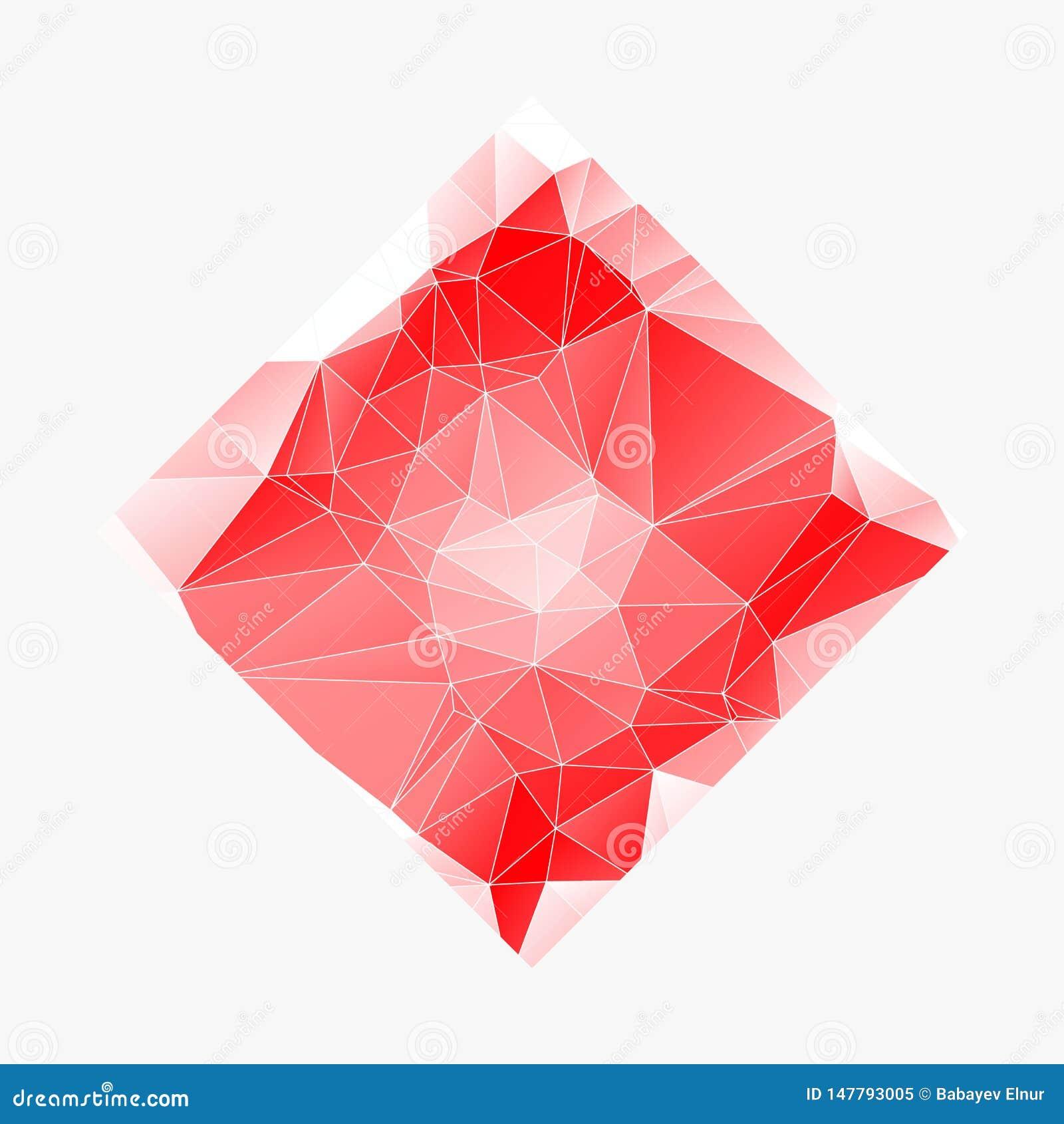 Kreatives Poligonal-Dreieck-wei?er roter Hintergrund mit copyspace auf ihm Niedriges Polydesign Helles Kopien-Raum-Farbmuster EPS