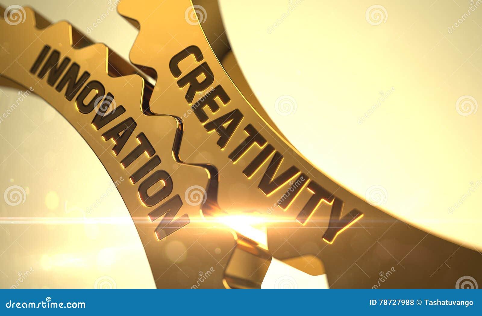Kreativitetinnovationbegrepp Guld- metalliska kuggekugghjul 3d