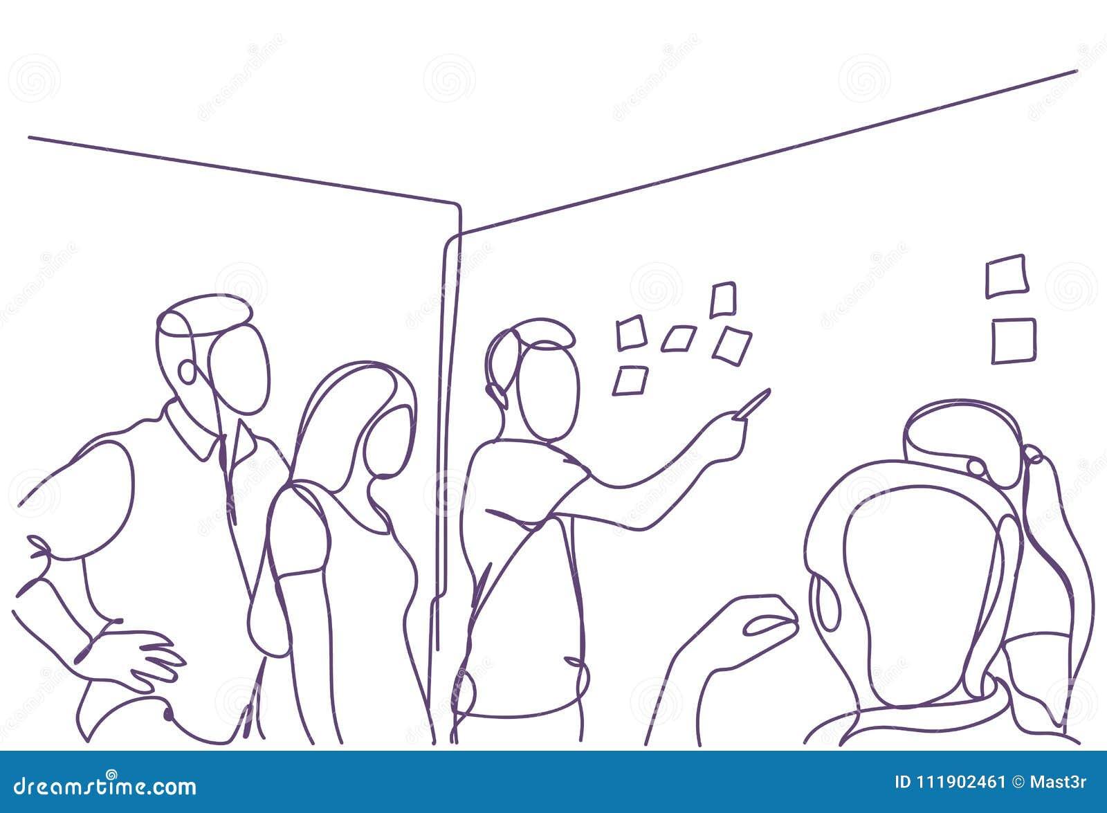 Kreatywnie biznes drużyny Brainstorming Przy Deskowego pokoju spotkaniem, grupą biznesmeni I bizneswomanów Doodles Pracować,