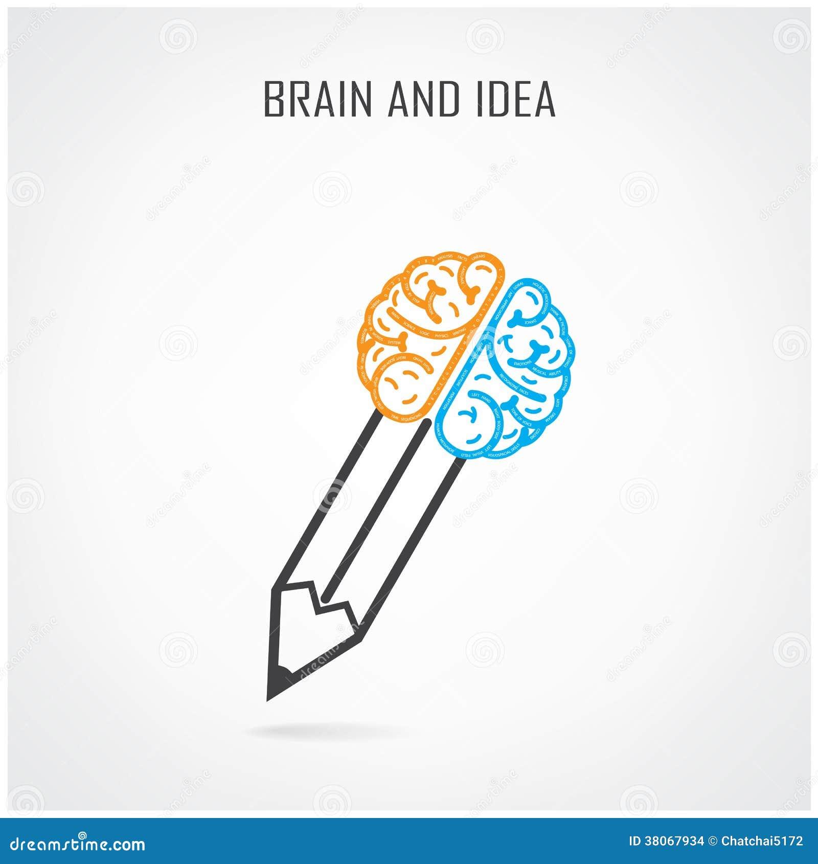 Kreatywnie dobra, lewego mózg i ołówka symbol