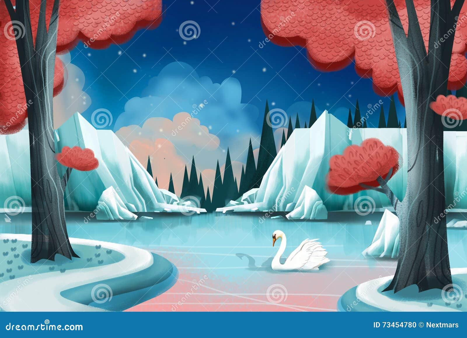 Kreatywnie ilustracja i Nowatorska sztuka: Łabędzi jezioro
