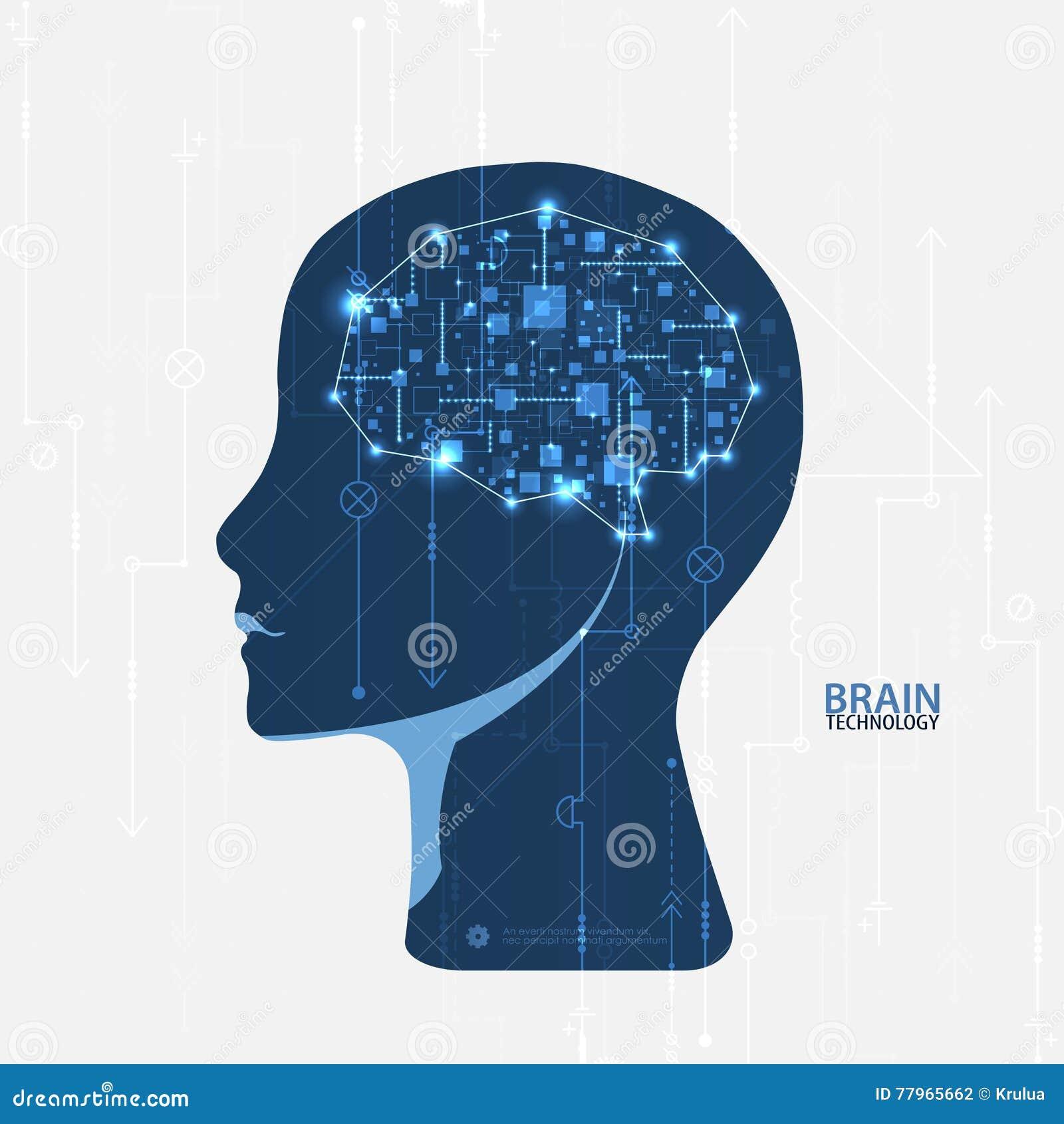 Kreatywnie móżdżkowy pojęcia tło Sztucznej inteligenci conce