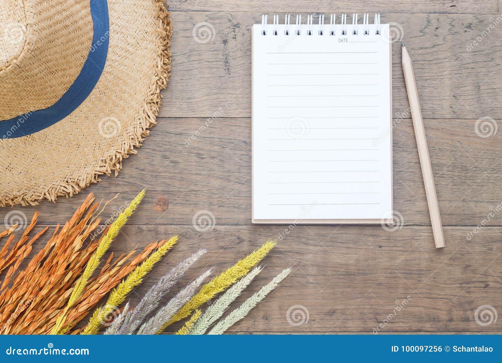 Kreatywnie mieszkanie nieatutowy pojęcie, Suszący kwiaty, słomiany kapelusz i puste miejsce notatnik z ołówkiem na drewnianym jes