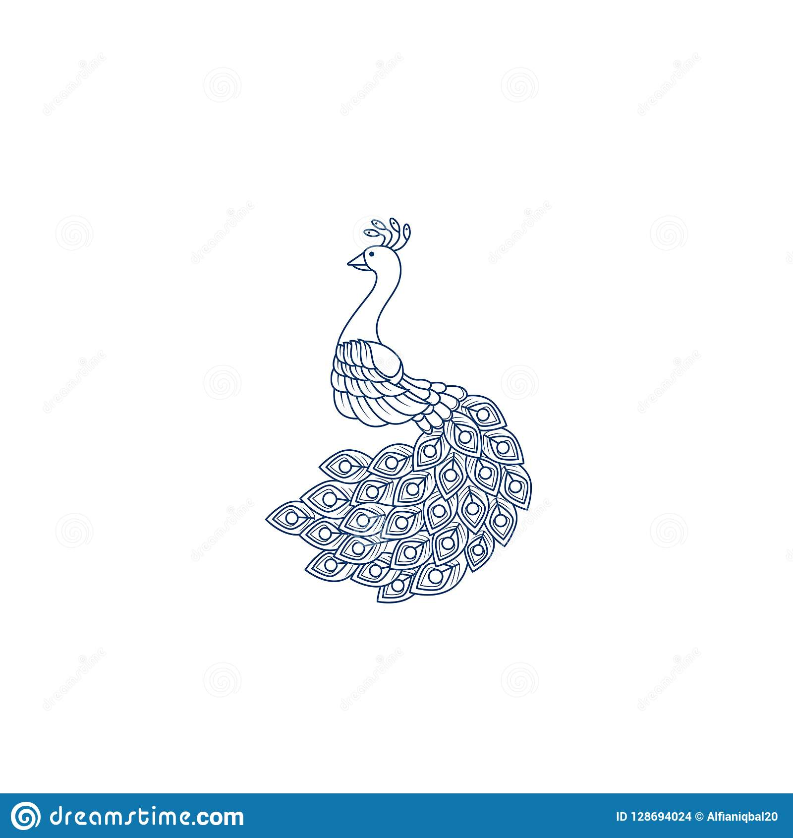 Kreatywnie Pawi loga projekta szablon Pawia logo ilustracja Z kreskową sztuką Luksusu styl Wektorowy ilustracyjny dekoracyjny pta