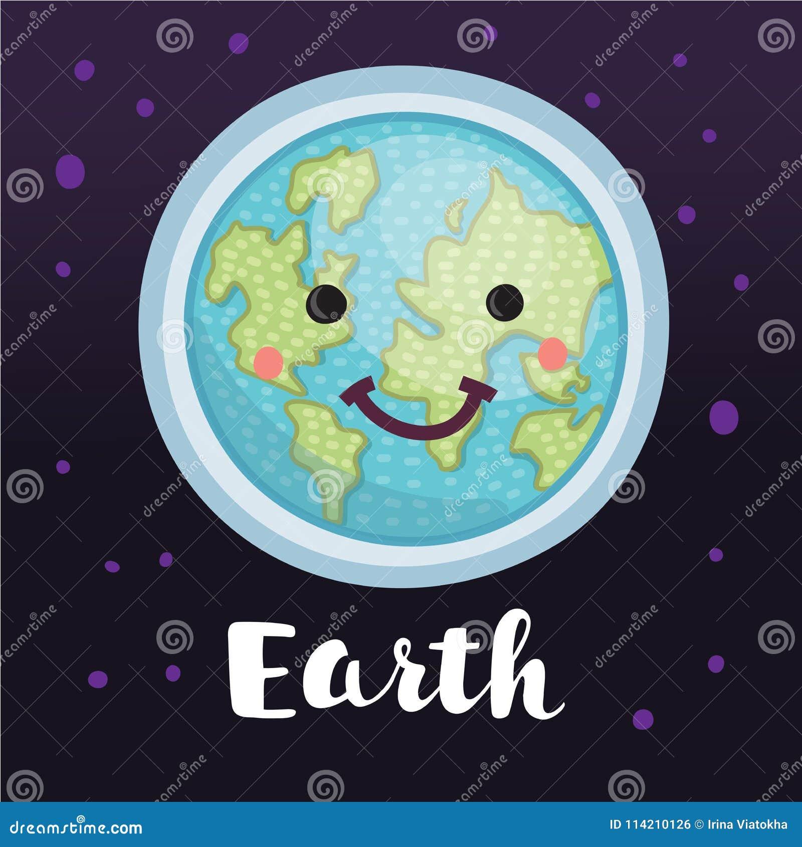 Kreatywnie pojęcie planety ziemi kula ziemska z słodką śliczną twarzą ono uśmiecha się dla ludzkość ziemskiego dnia kreskówki pro