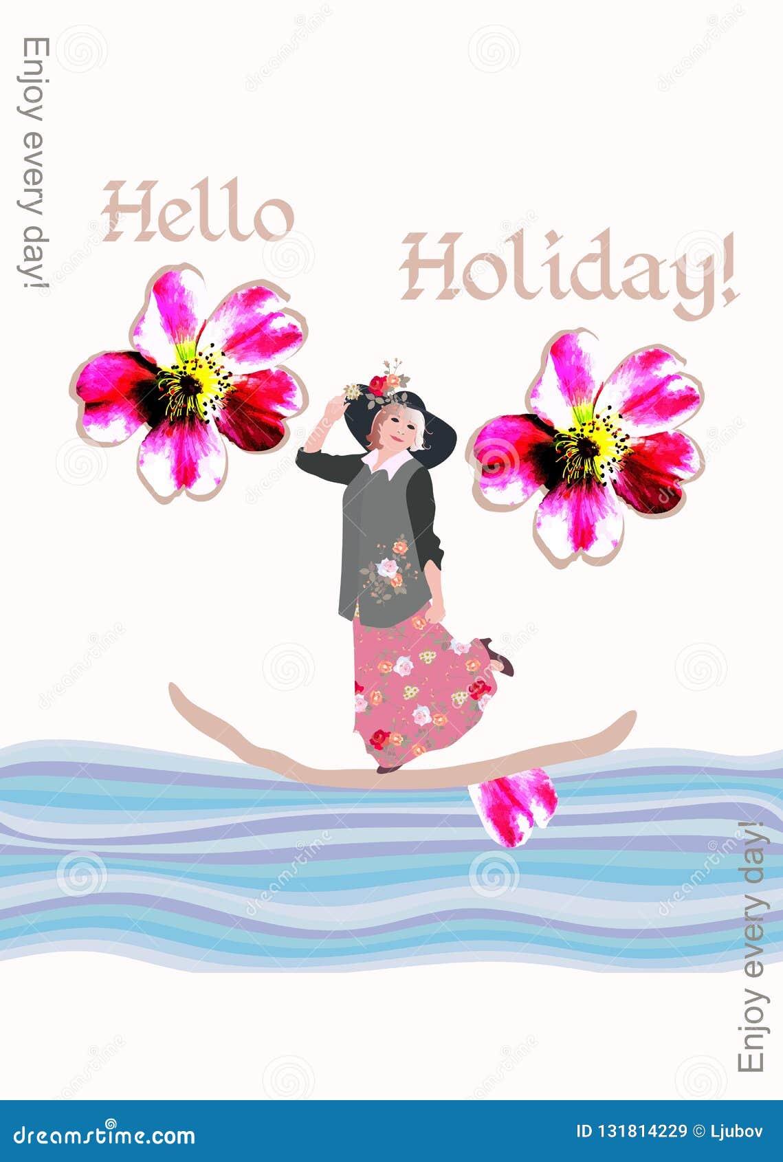 Kreatywnie pokrywa książka z w średnim wieku kobietą unosi się na łodzi na wakacje Cieszy się codziennie!