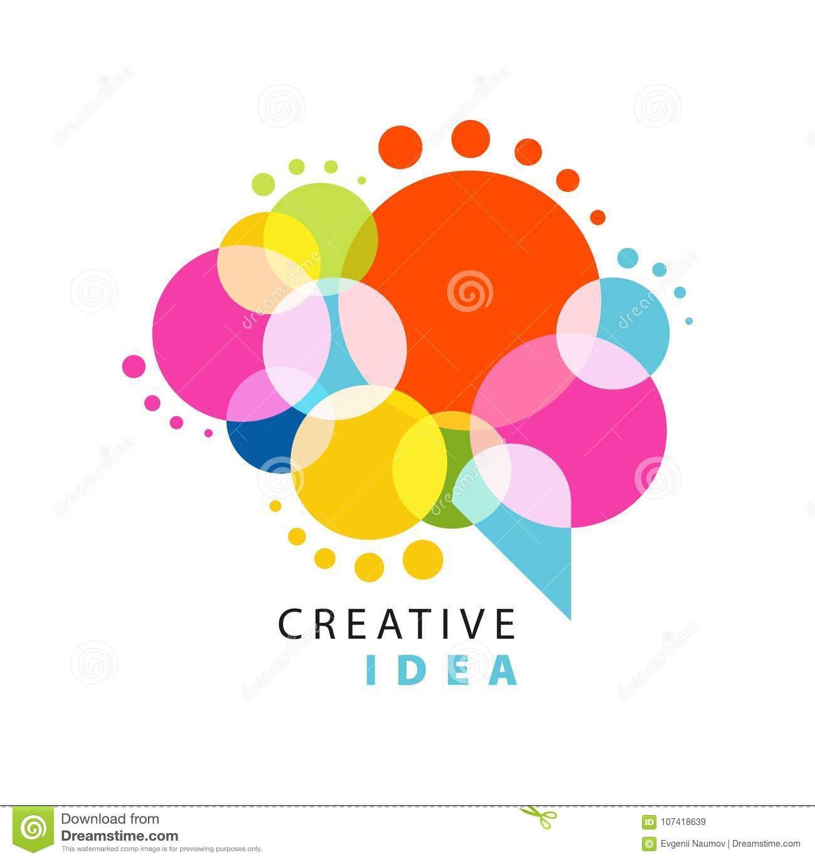 Kreatywnie pomysłu loga szablon z abstrakcjonistycznym kolorowym mowa bąblem Edukacyjny biznes, centrum rozwoju etykietka władza
