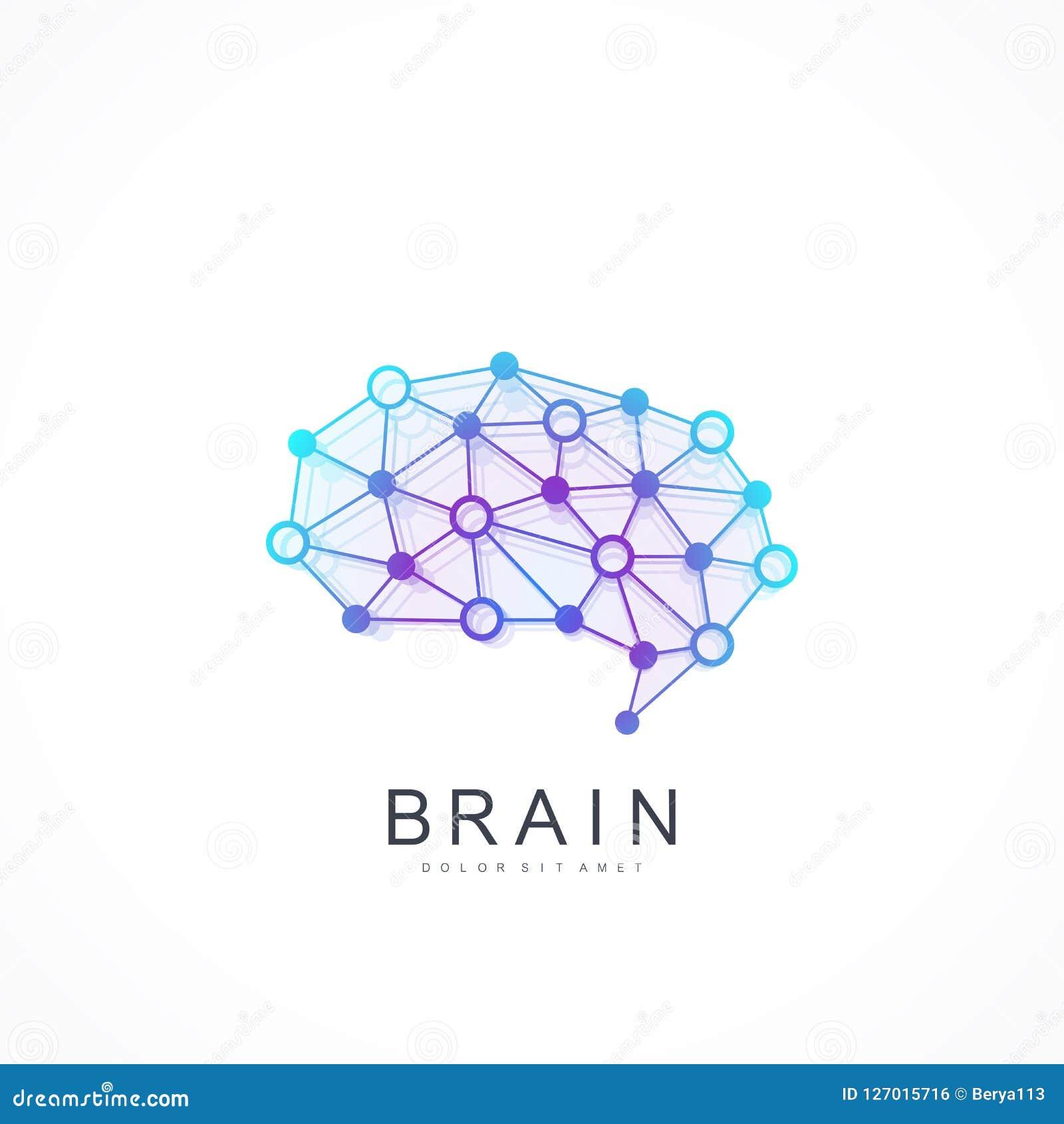 Kreatywnie pomysłu pojęcia projekta logotypu wektoru móżdżkowa ikona Sztucznej inteligenci loga móżdżkowy pojęcie