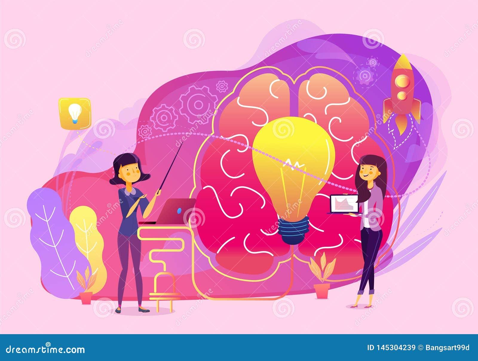 Kreatywnie pomysłu pracy zespołowej biznesowy wektor z móżdżkową i lampową ilustracją