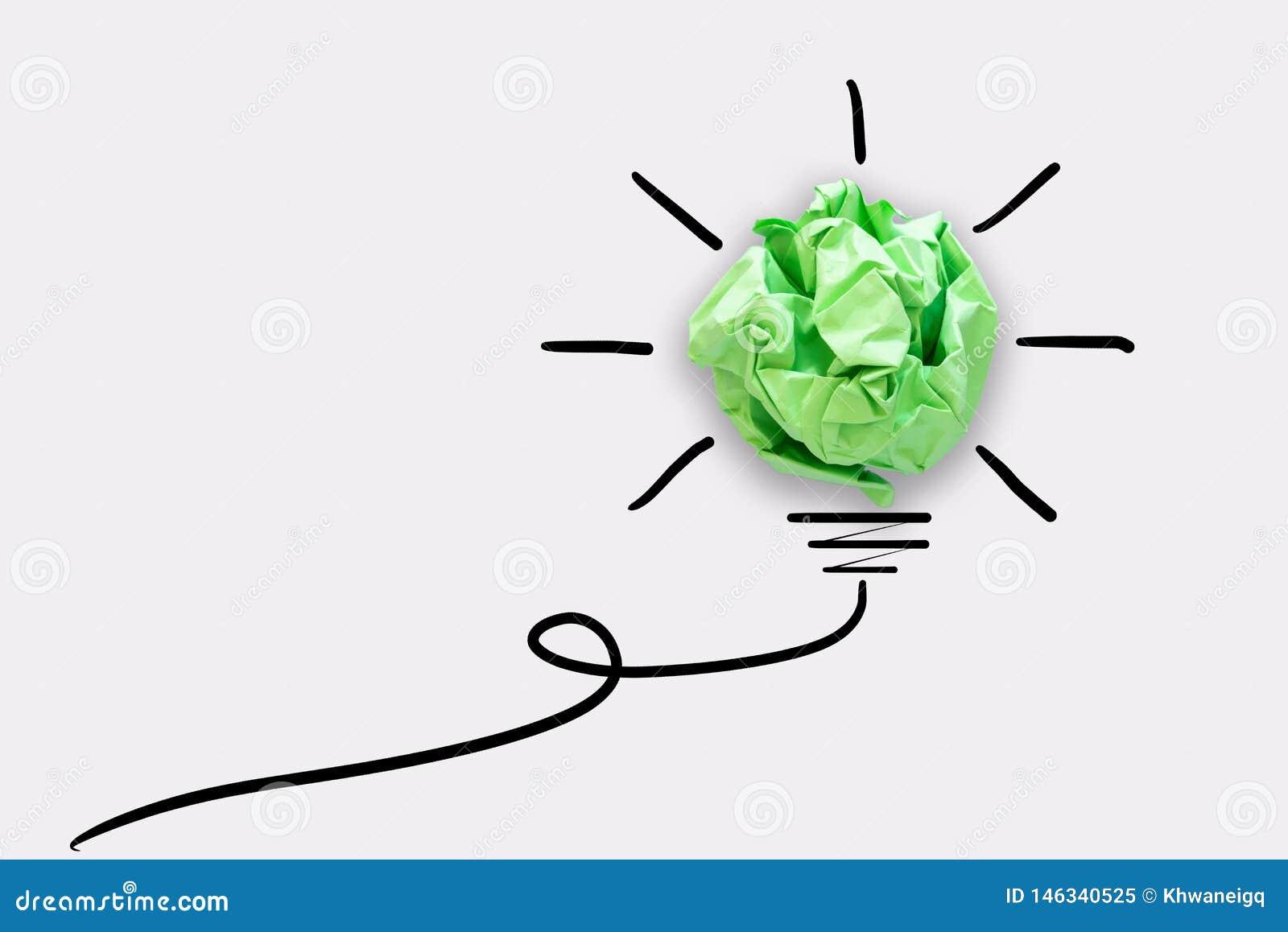 Kreatywnie pomys? w?adzy My?l?cy poj?cie, Papierowy lightbulb projekt Z Graficznego rysunku uderzenia lini? Brainstorming inspira