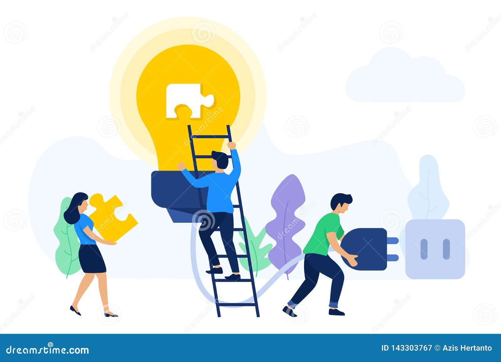 Kreatywnie praca zespołowa szuka pomysły i rozwiązania