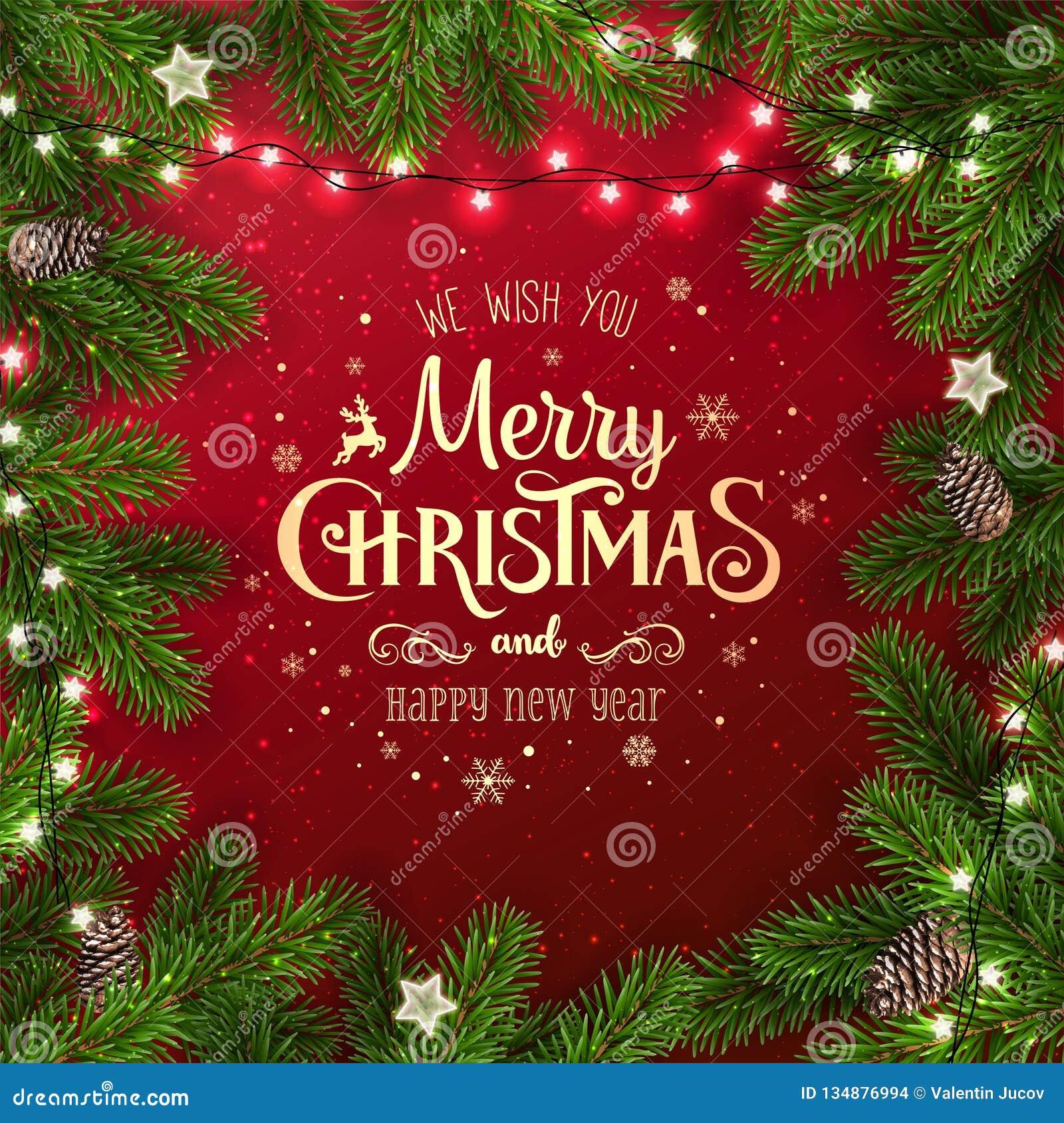 Kreatywnie rama robić Bożenarodzeniowe jedlinowe gałąź Złocisty Wesoło bożych narodzeń i nowego roku tekst na czerwonym tle